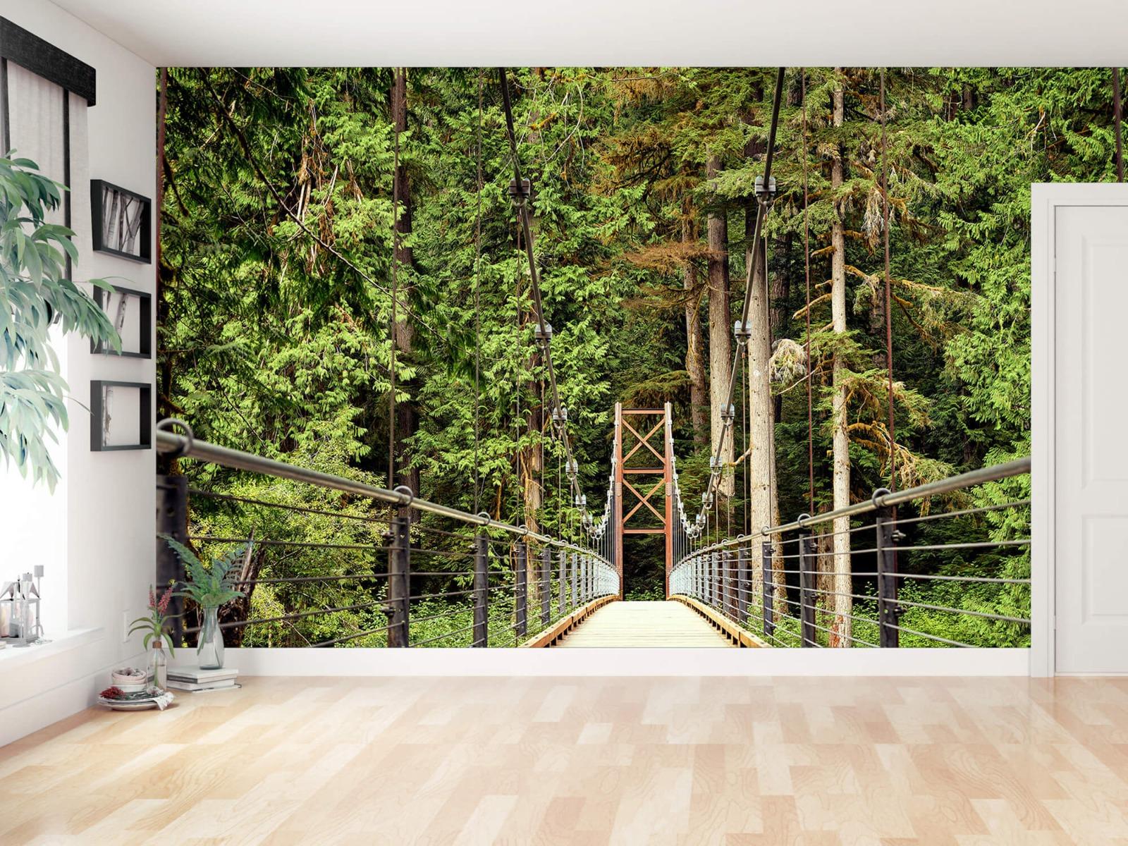 Bos behang - Brug door het bos - Slaapkamer 11