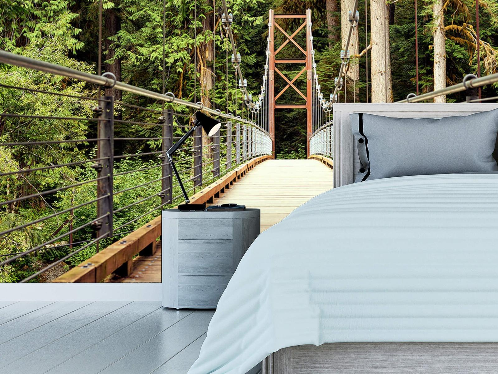 Bos behang - Brug door het bos - Slaapkamer 12