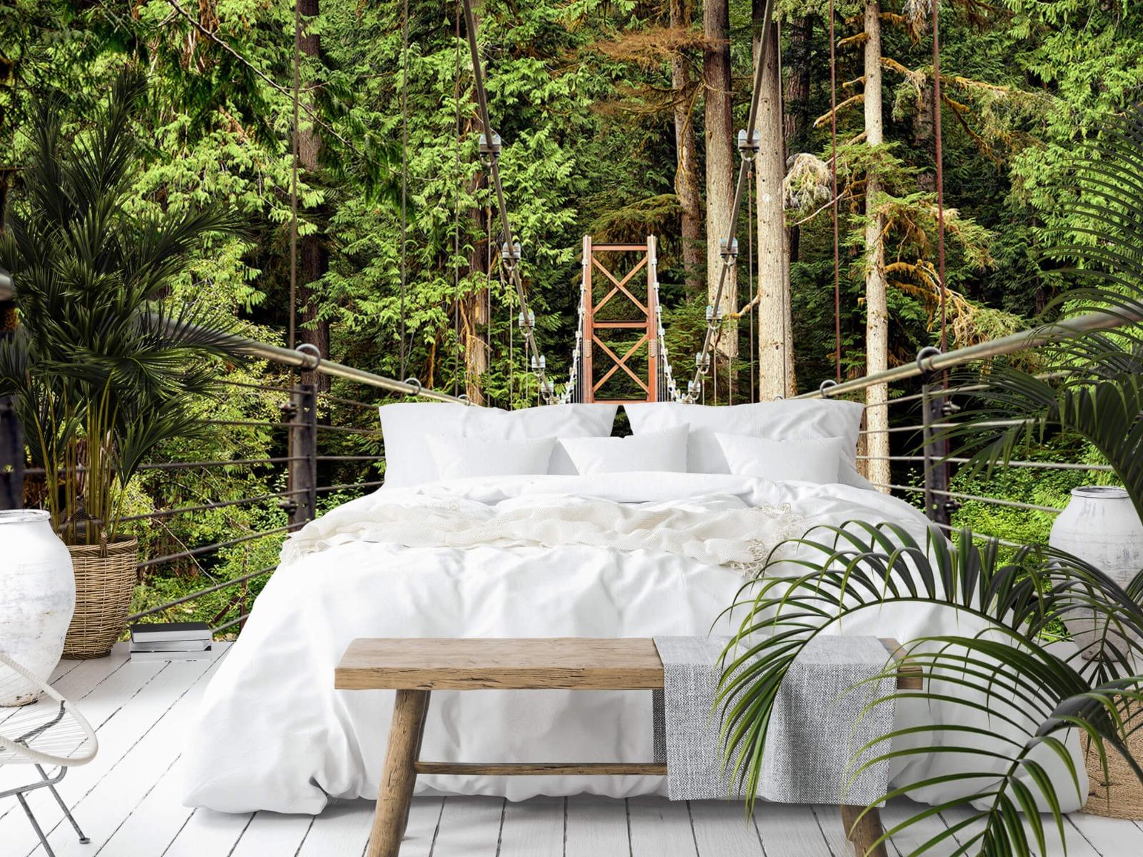 Bos behang - Brug door het bos - Slaapkamer 13