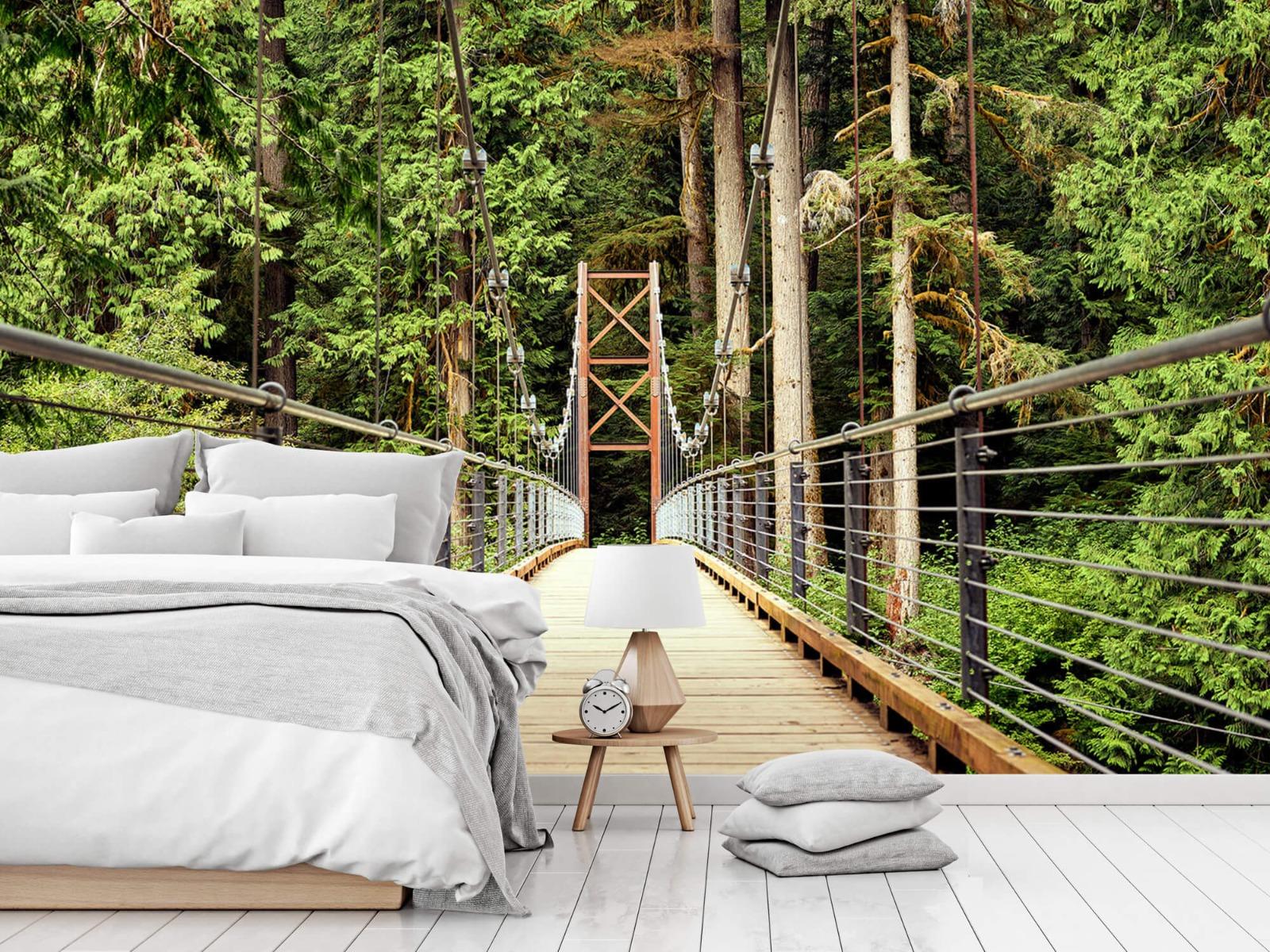 Bos behang - Brug door het bos - Slaapkamer 14