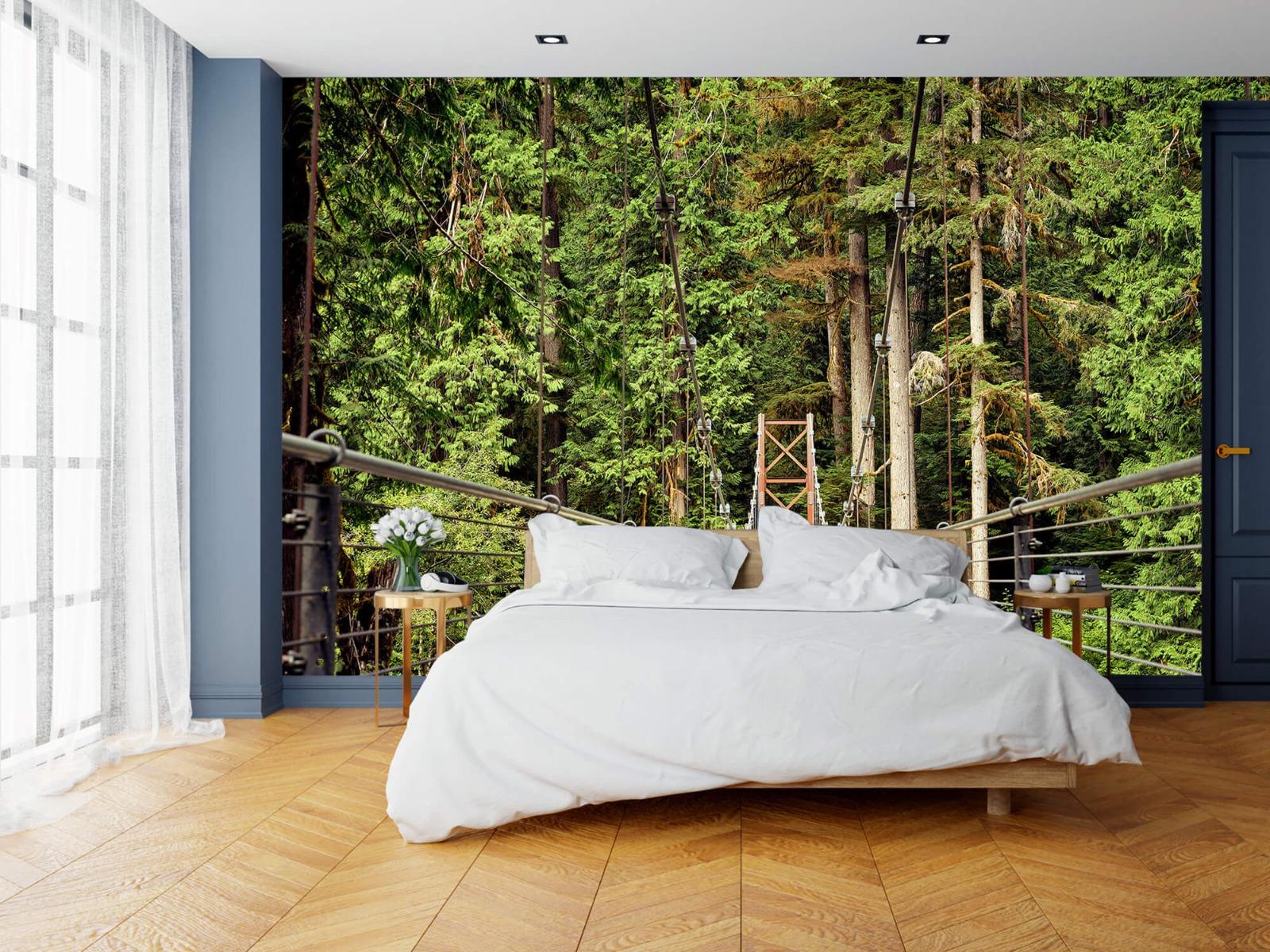 Bos behang - Brug door het bos - Slaapkamer 15