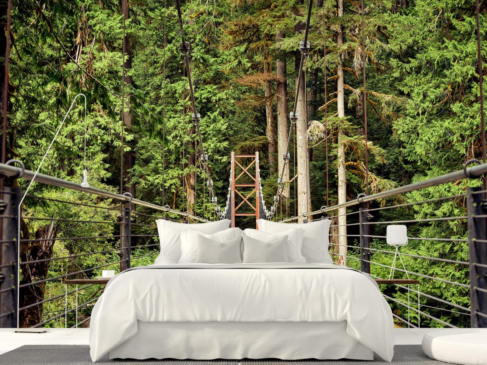 Bos behang - Brug door het bos - Slaapkamer 16