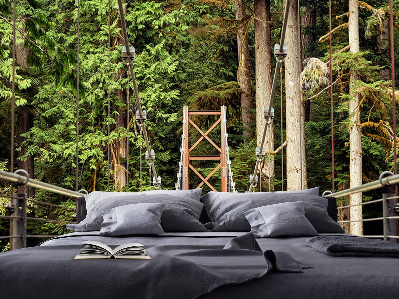Bos behang - Brug door het bos - Slaapkamer 17