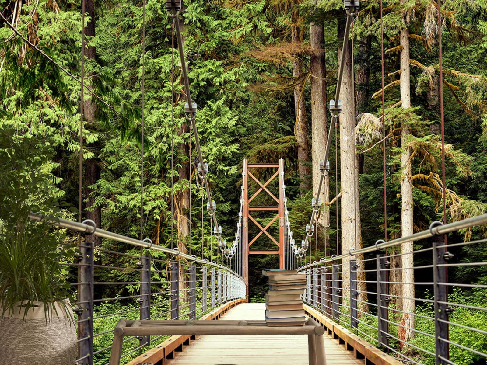 Bos behang - Brug door het bos - Slaapkamer 20