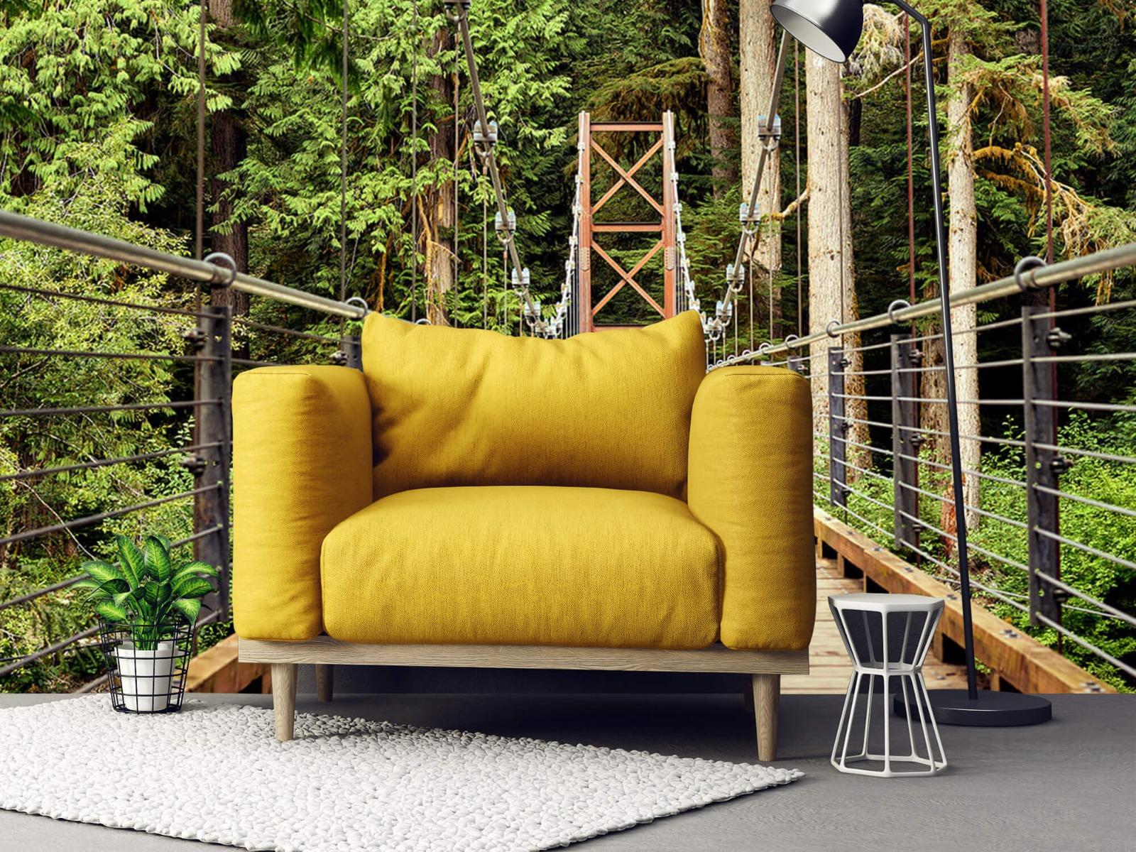 Bos behang - Brug door het bos - Slaapkamer 21