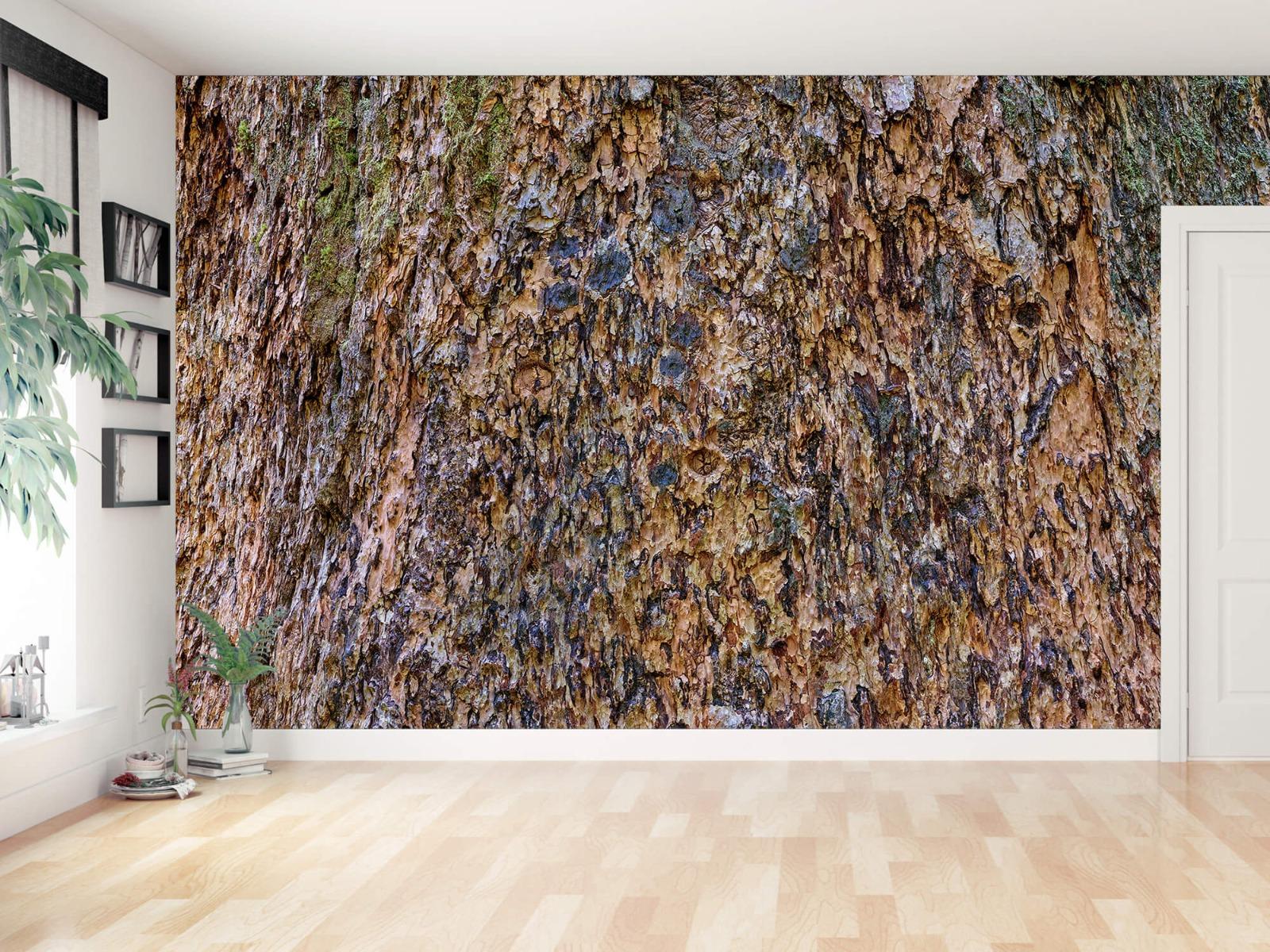 Hout behang - Boomschors bruin - Wallexclusive - Woonkamer 13