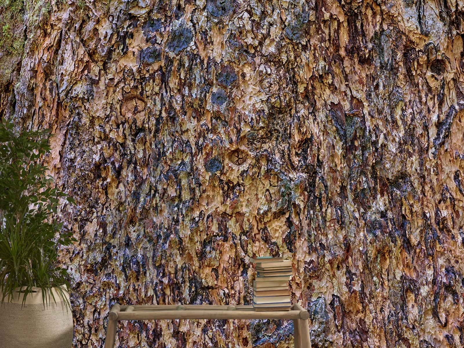 Hout behang - Boomschors bruin - Wallexclusive - Woonkamer 21