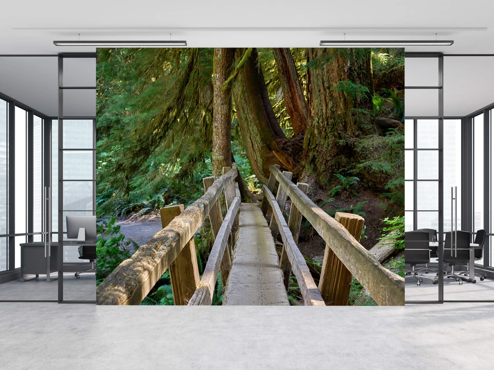 Landschap - Houten brug door het bos - Wallexclusive - Woonkamer 9