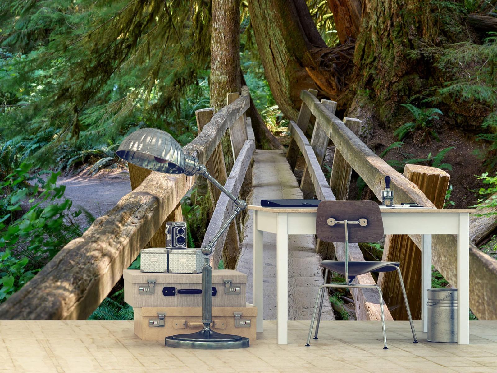 Landschap - Houten brug door het bos - Wallexclusive - Woonkamer 10