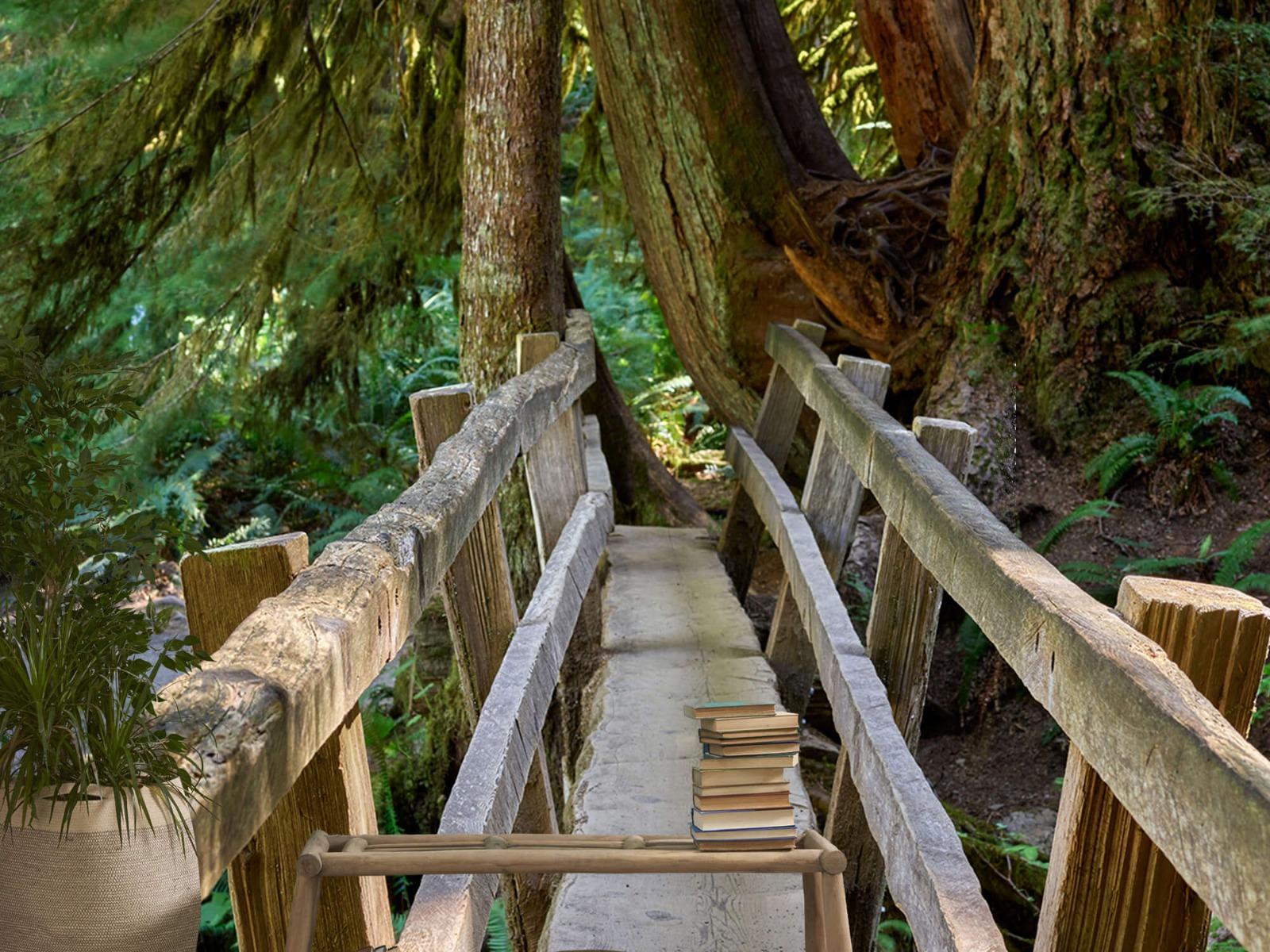 Landschap - Houten brug door het bos - Wallexclusive - Woonkamer 20