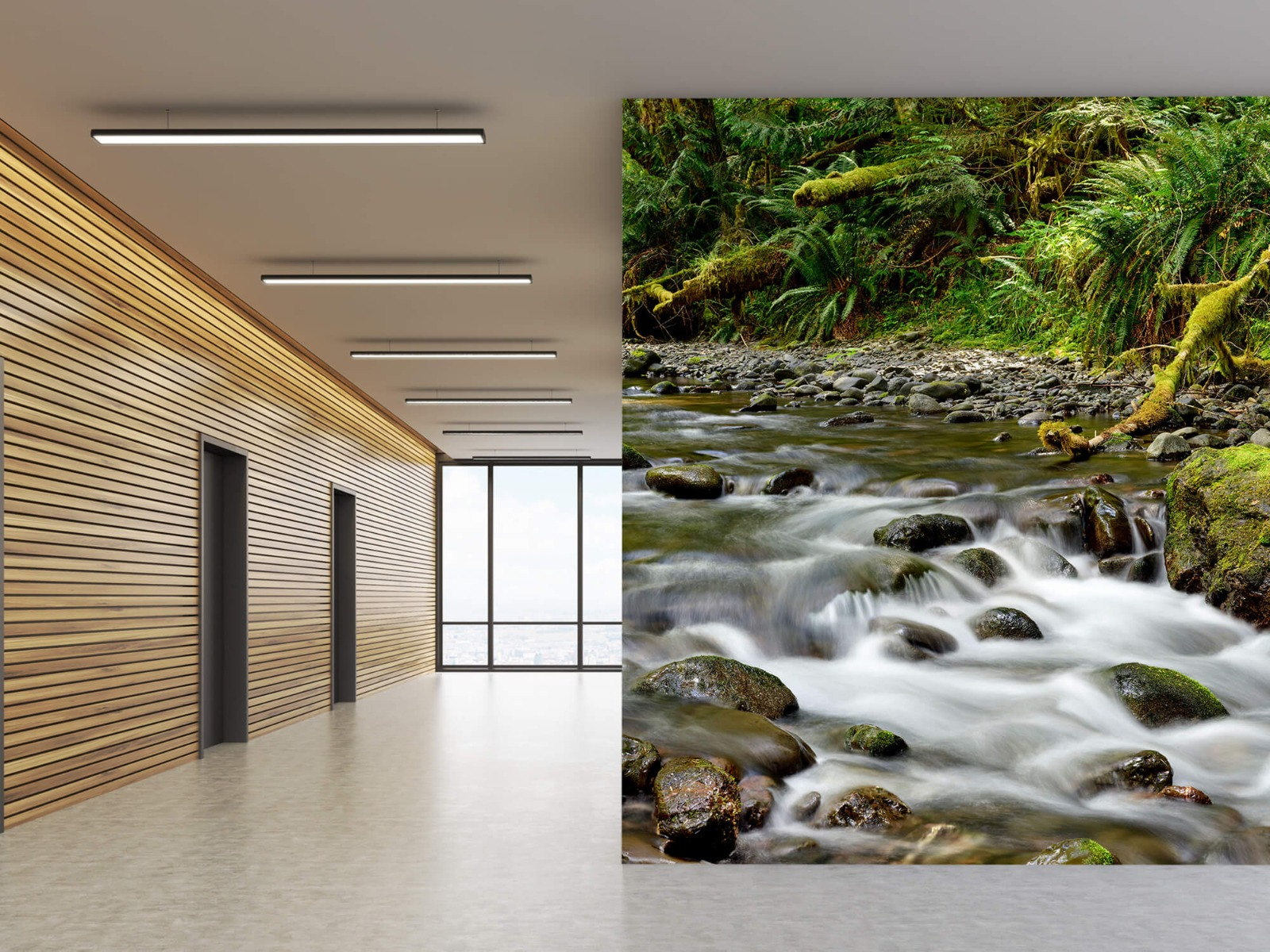 Meertjes en Wateren - Groen rotsblok met riviertje - Wallexclusive - Slaapkamer 6