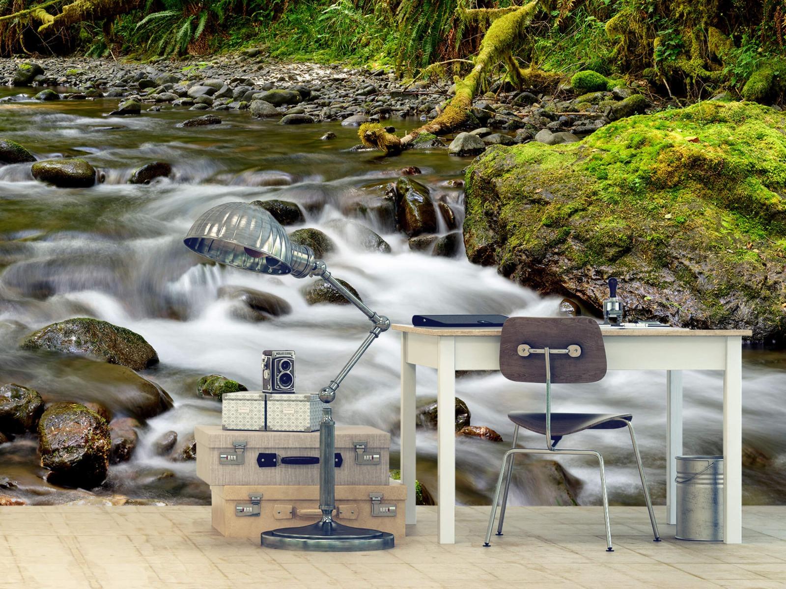 Meertjes en Wateren - Groen rotsblok met riviertje - Wallexclusive - Slaapkamer 10