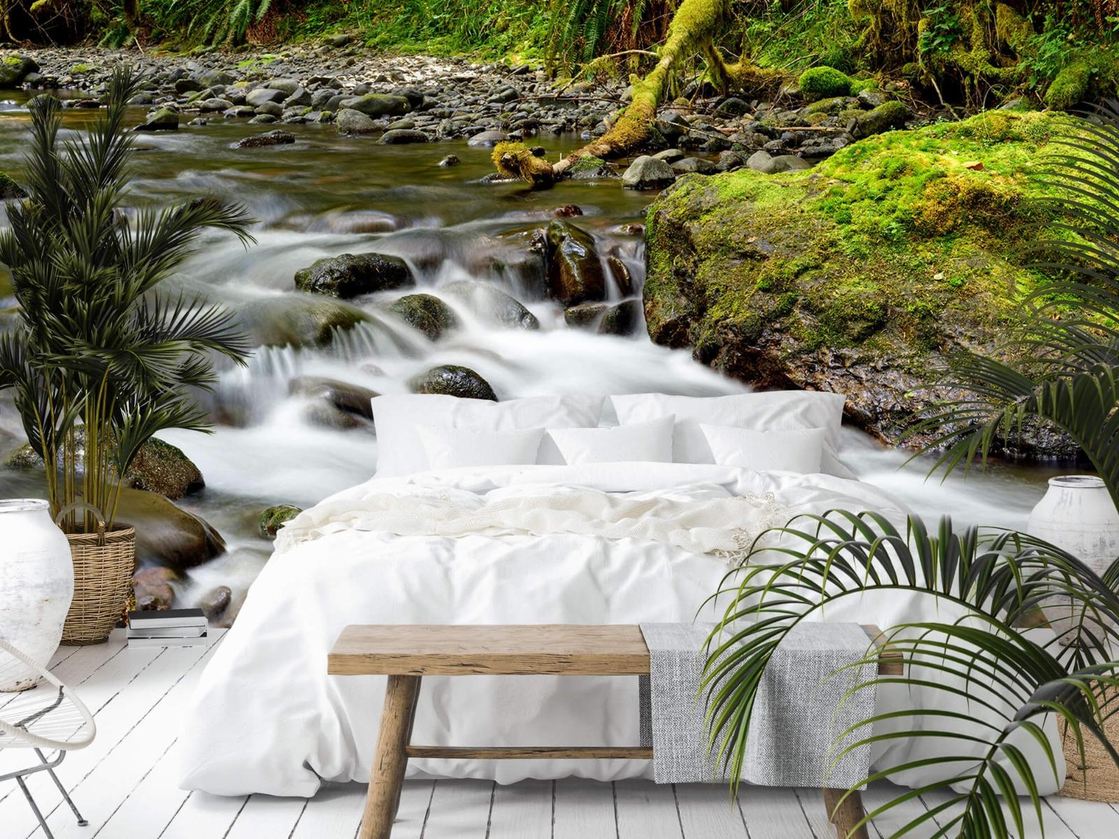 Meertjes en Wateren - Groen rotsblok met riviertje - Wallexclusive - Slaapkamer 14