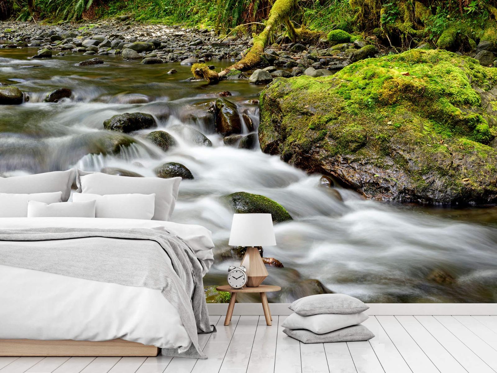 Meertjes en Wateren - Groen rotsblok met riviertje - Wallexclusive - Slaapkamer 15