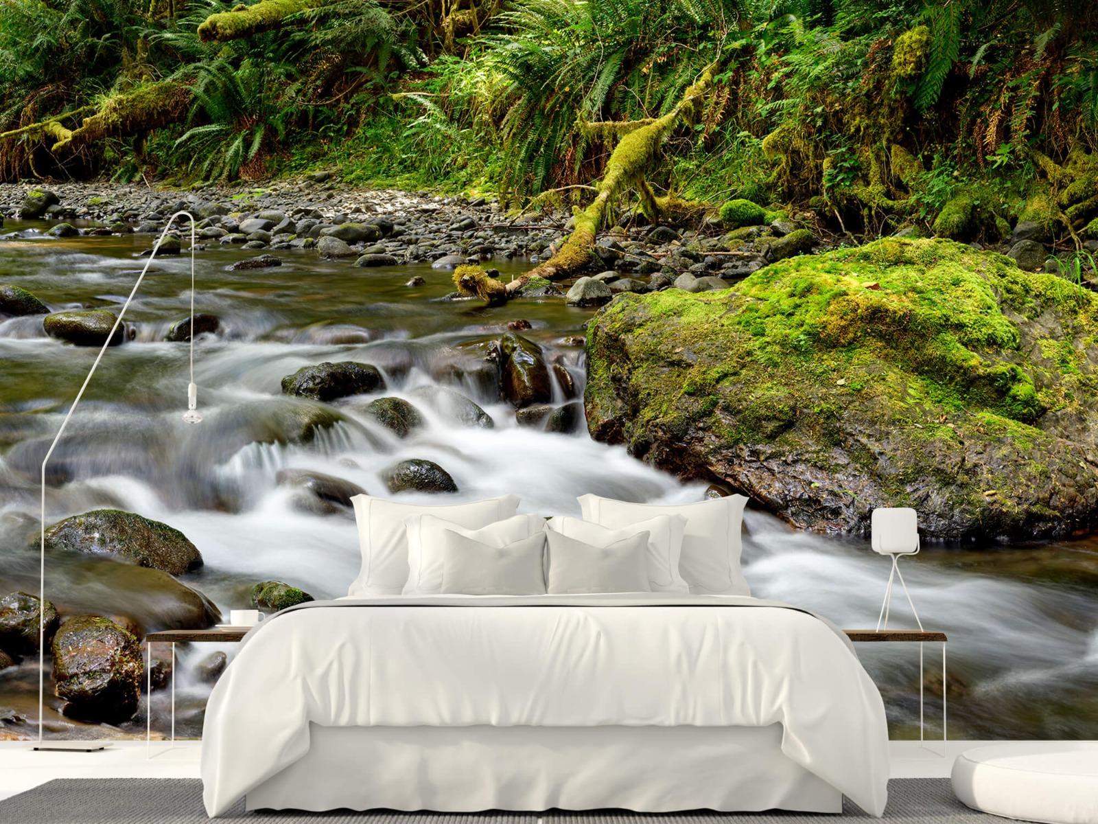 Meertjes en Wateren - Groen rotsblok met riviertje - Wallexclusive - Slaapkamer 17