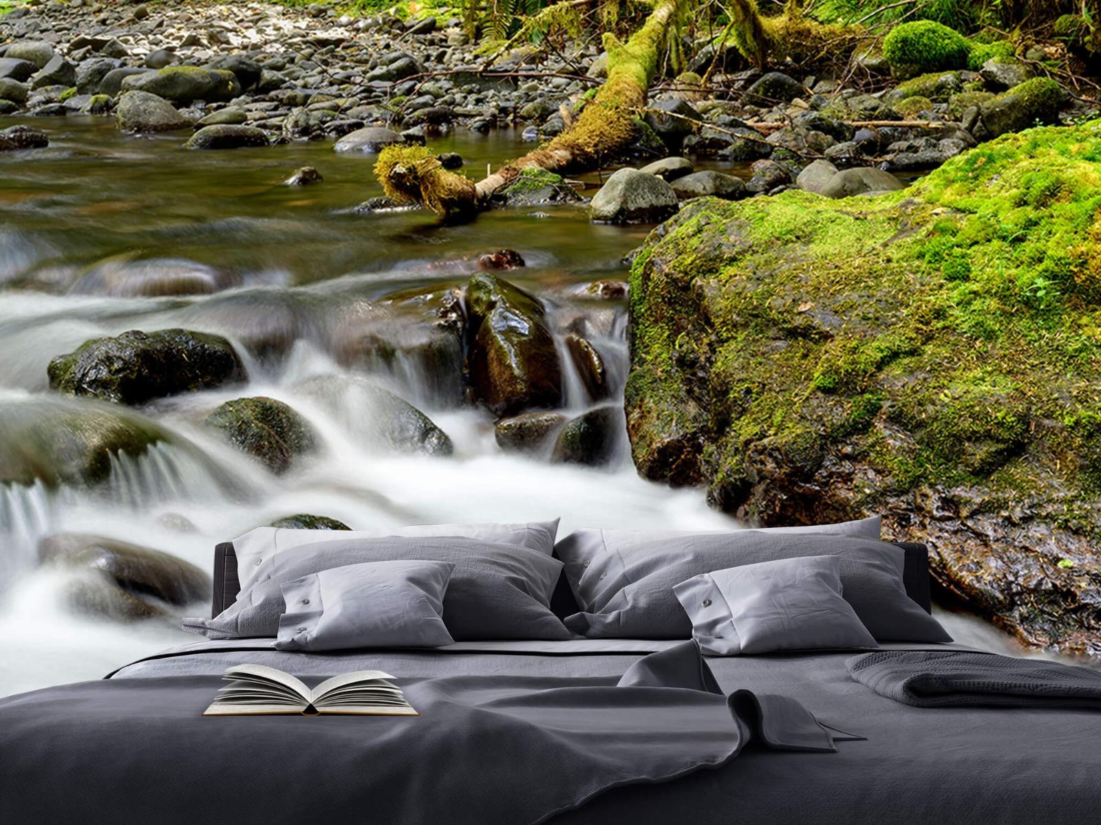Meertjes en Wateren - Groen rotsblok met riviertje - Wallexclusive - Slaapkamer 18