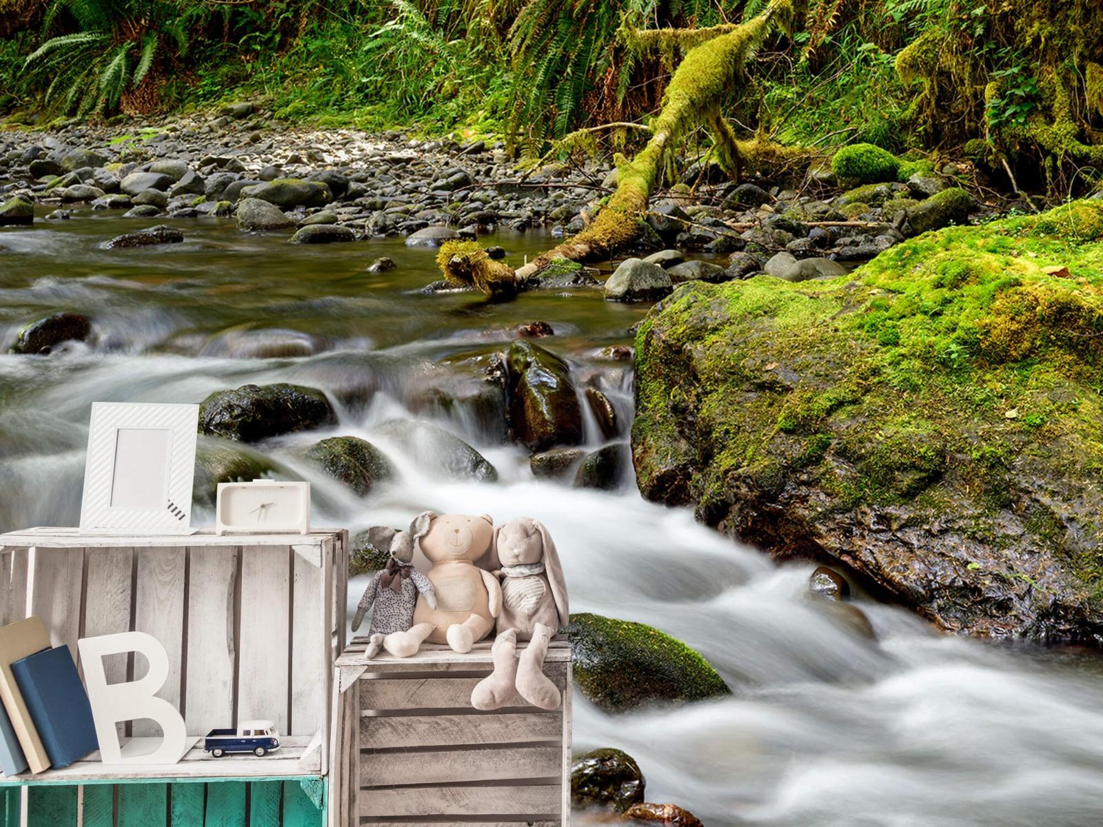 Meertjes en Wateren - Groen rotsblok met riviertje - Wallexclusive - Slaapkamer 20
