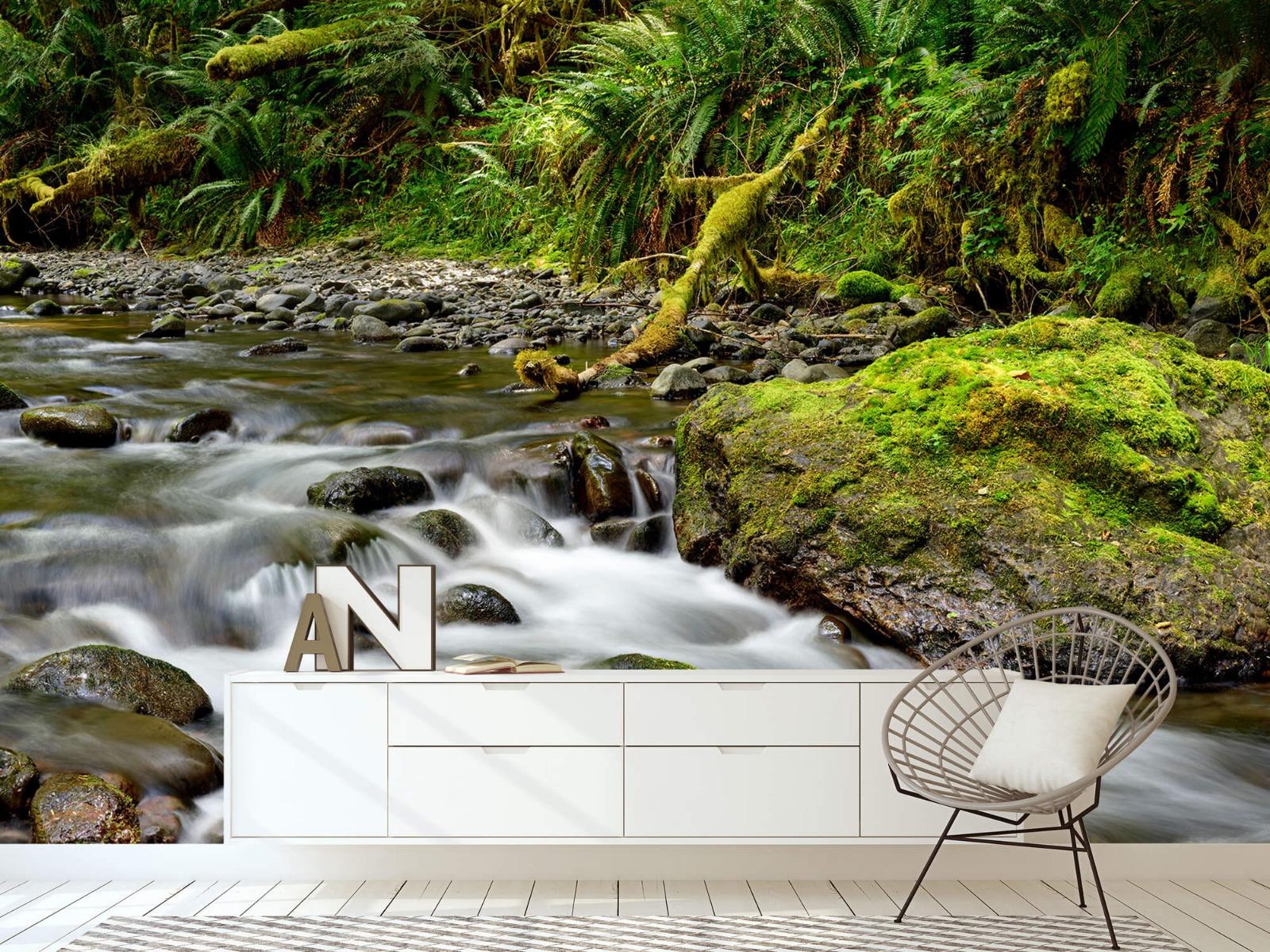 Meertjes en Wateren - Groen rotsblok met riviertje - Wallexclusive - Slaapkamer 23