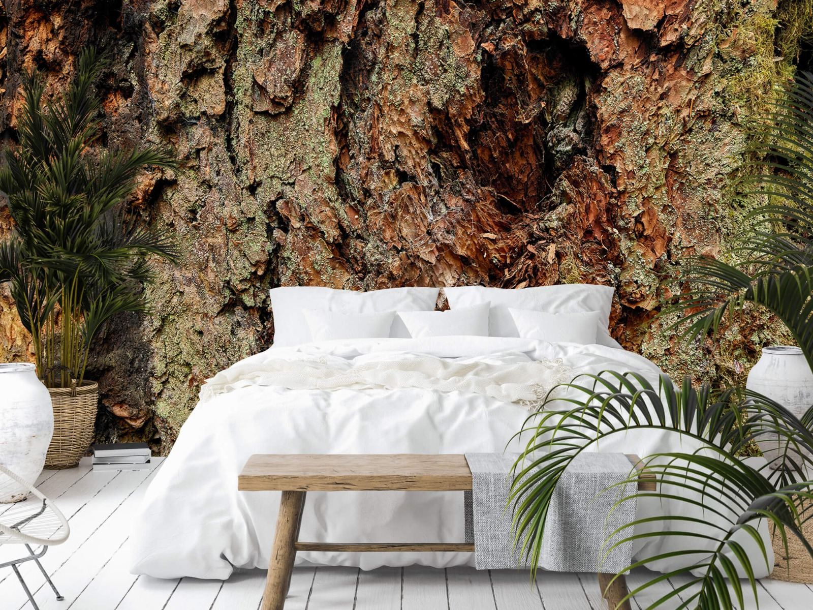 Hout behang - Boomschors oude boom - Wallexclusive - Slaapkamer 13