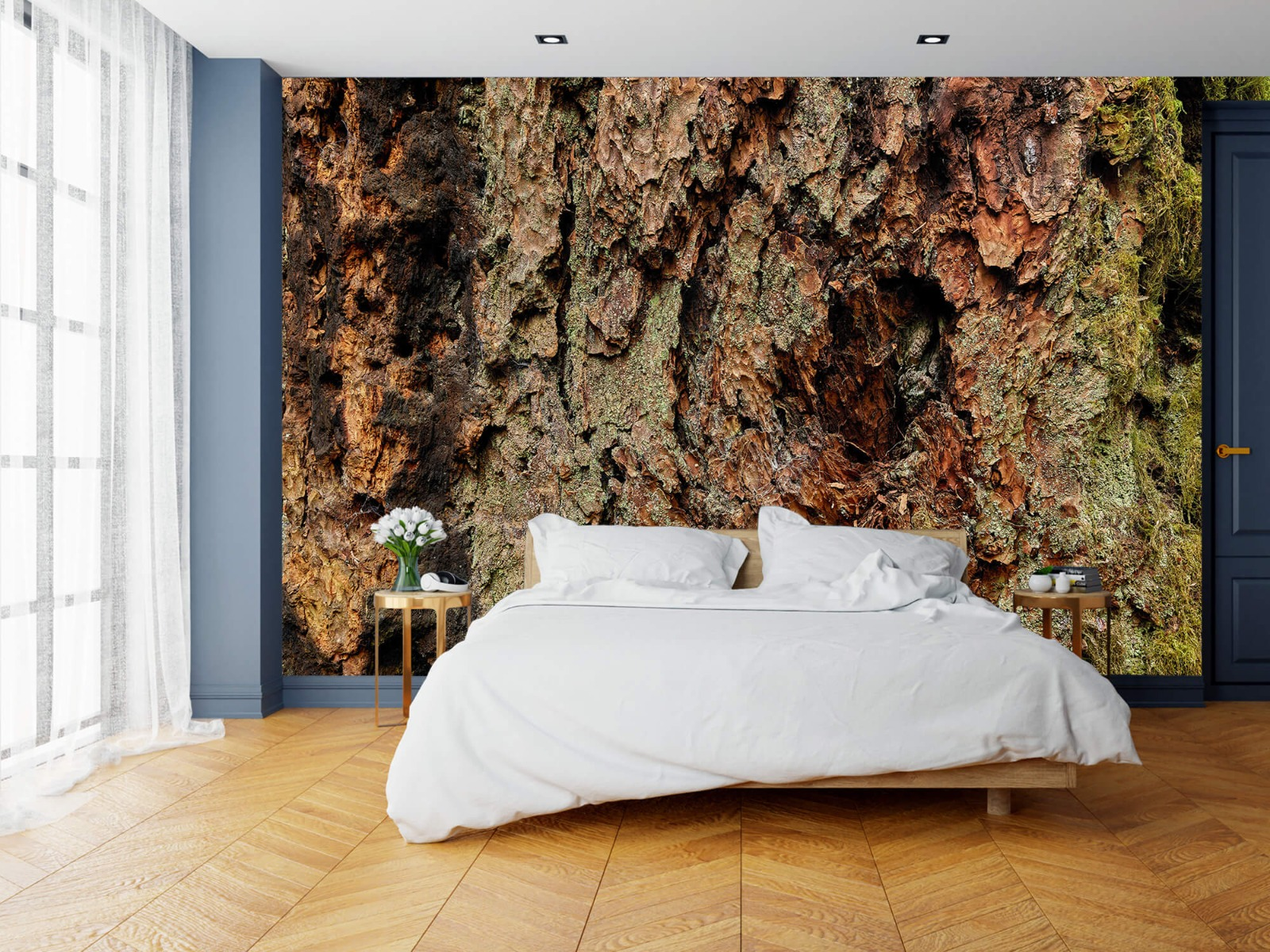 Hout behang - Boomschors oude boom - Wallexclusive - Slaapkamer 15