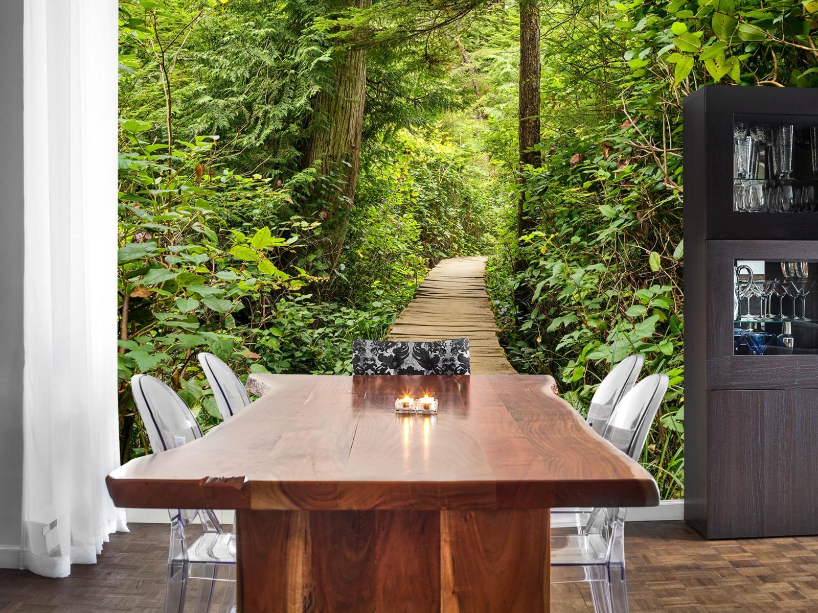 Bos behang - Houten pad door het groen - Slaapkamer 9