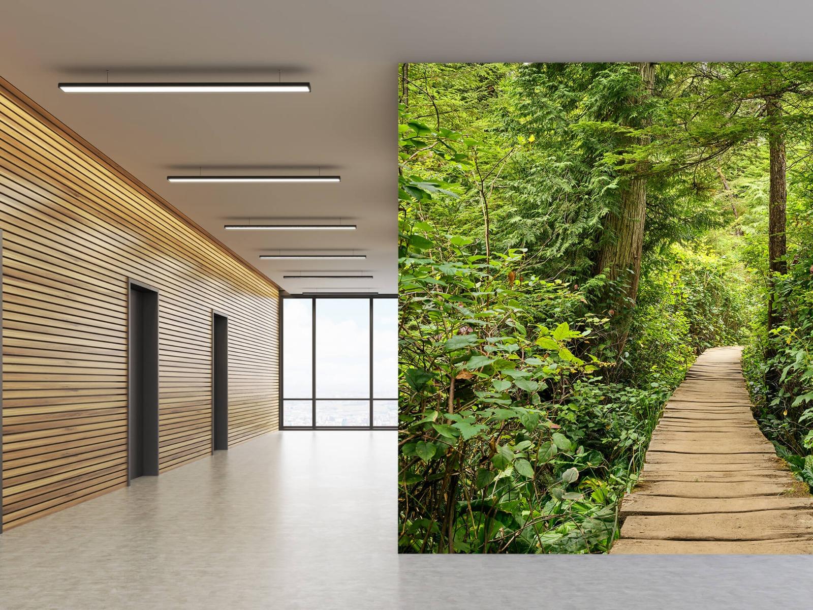 Bos behang - Houten pad door het groen - Slaapkamer 12