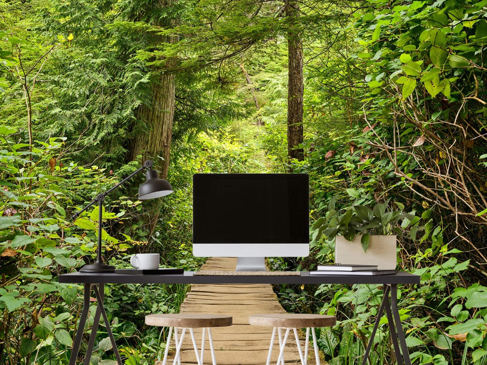 Bos behang - Houten pad door het groen - Slaapkamer 13