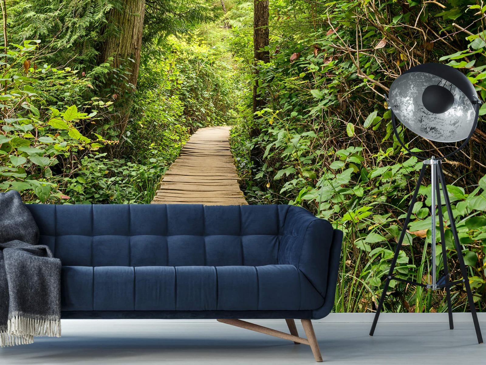 Bos behang - Houten pad door het groen - Slaapkamer 4