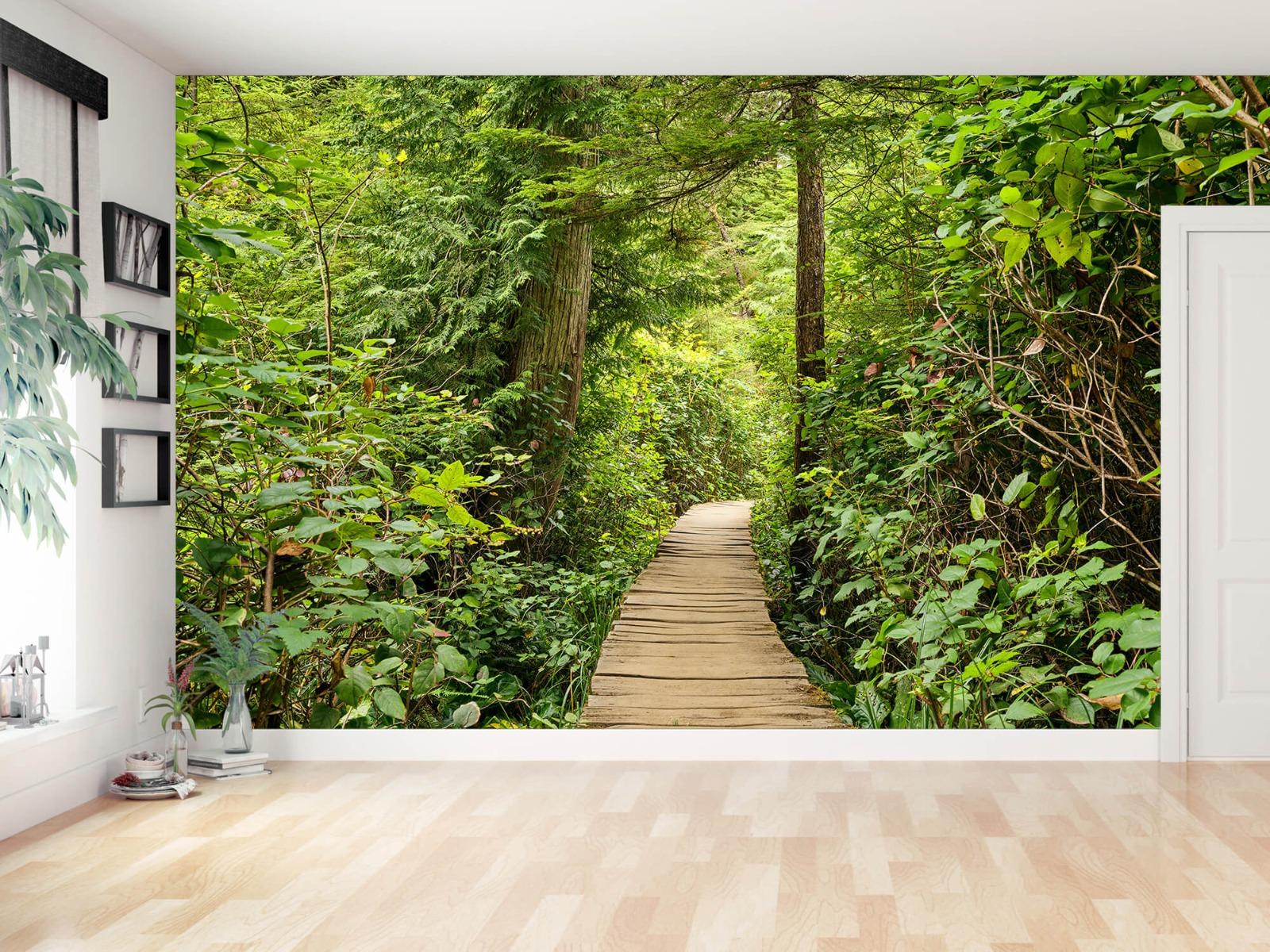 Bos behang - Houten pad door het groen - Slaapkamer 17