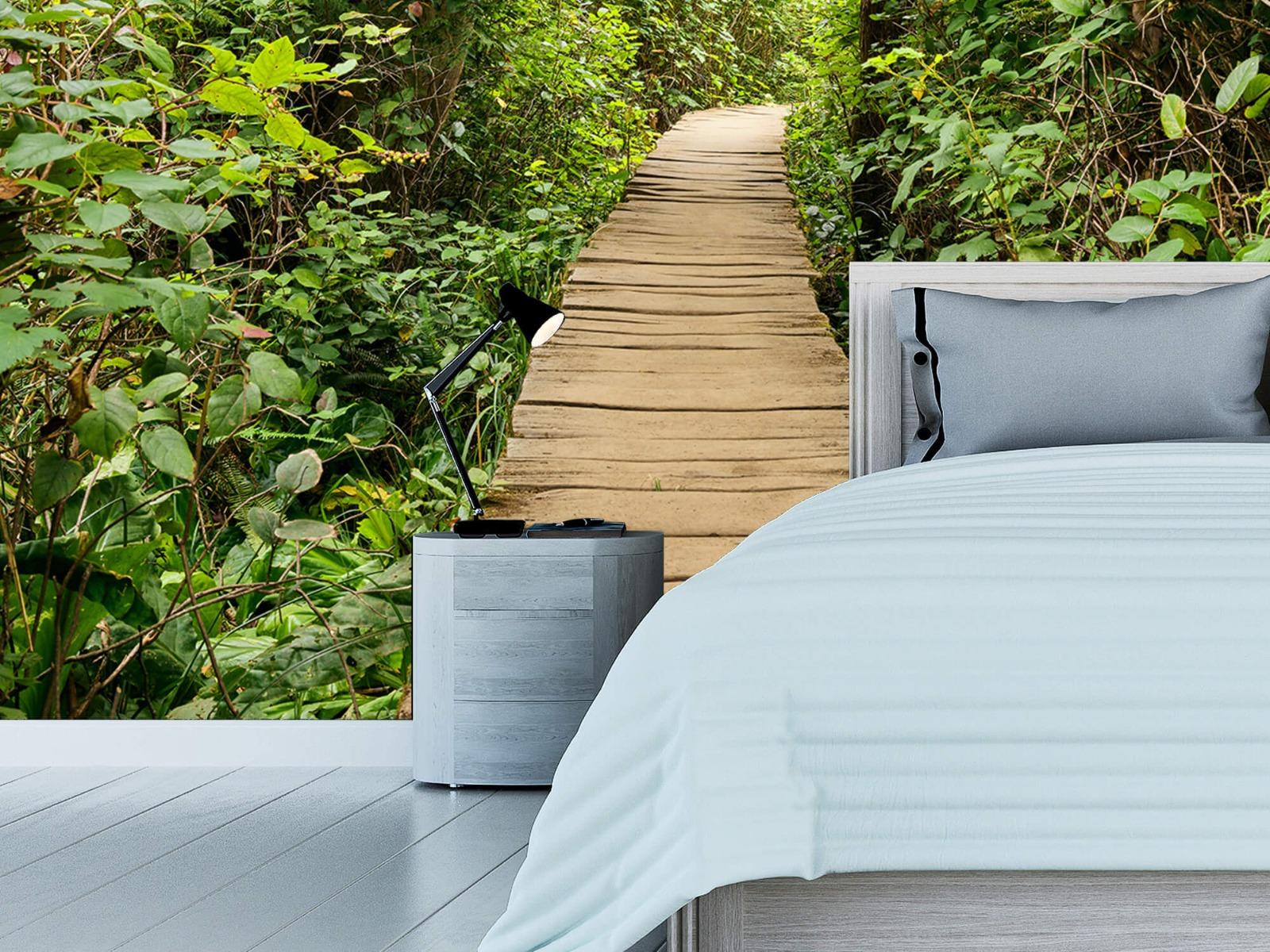 Bos behang - Houten pad door het groen - Slaapkamer 3