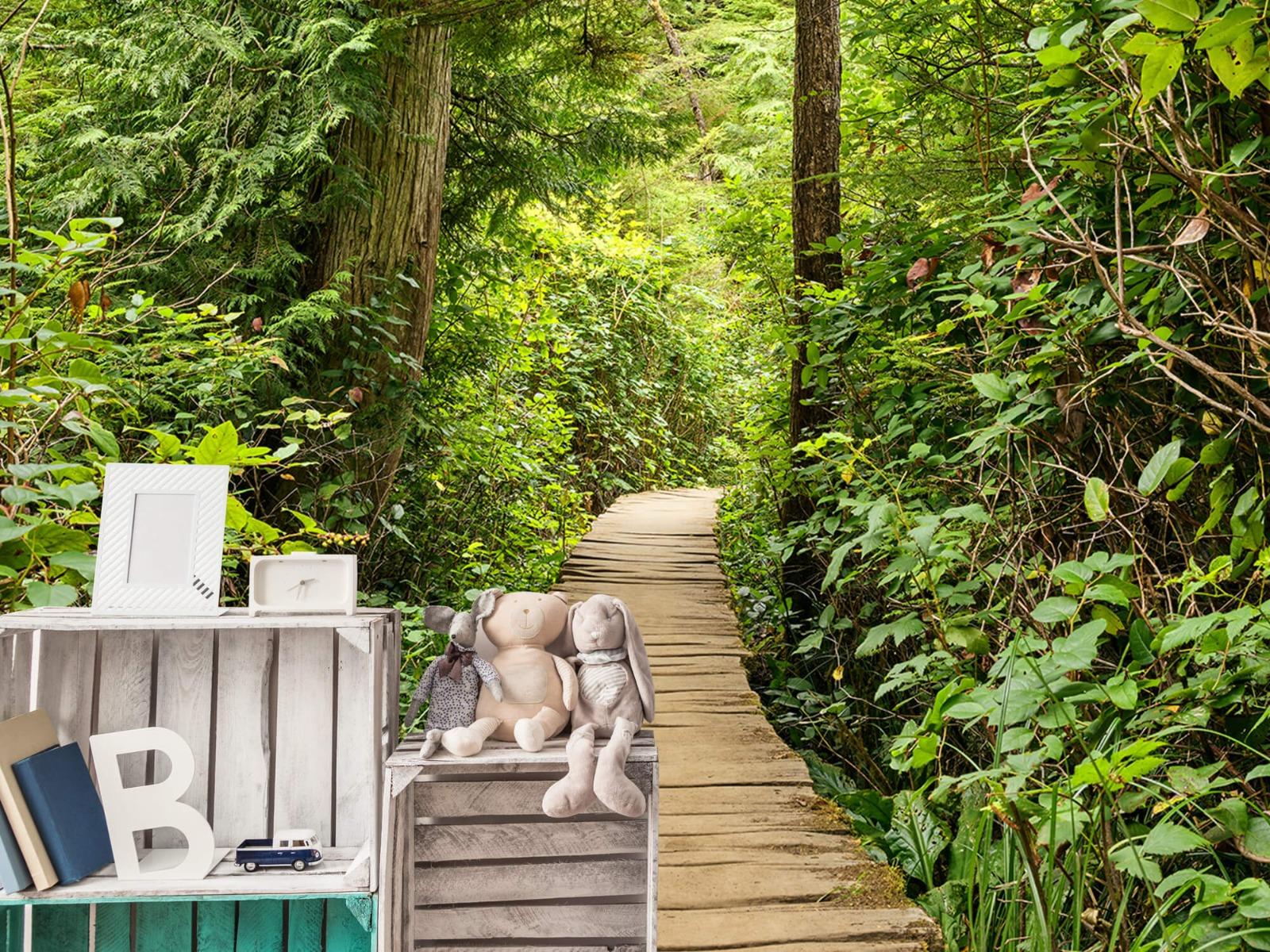 Bos behang - Houten pad door het groen - Slaapkamer 23