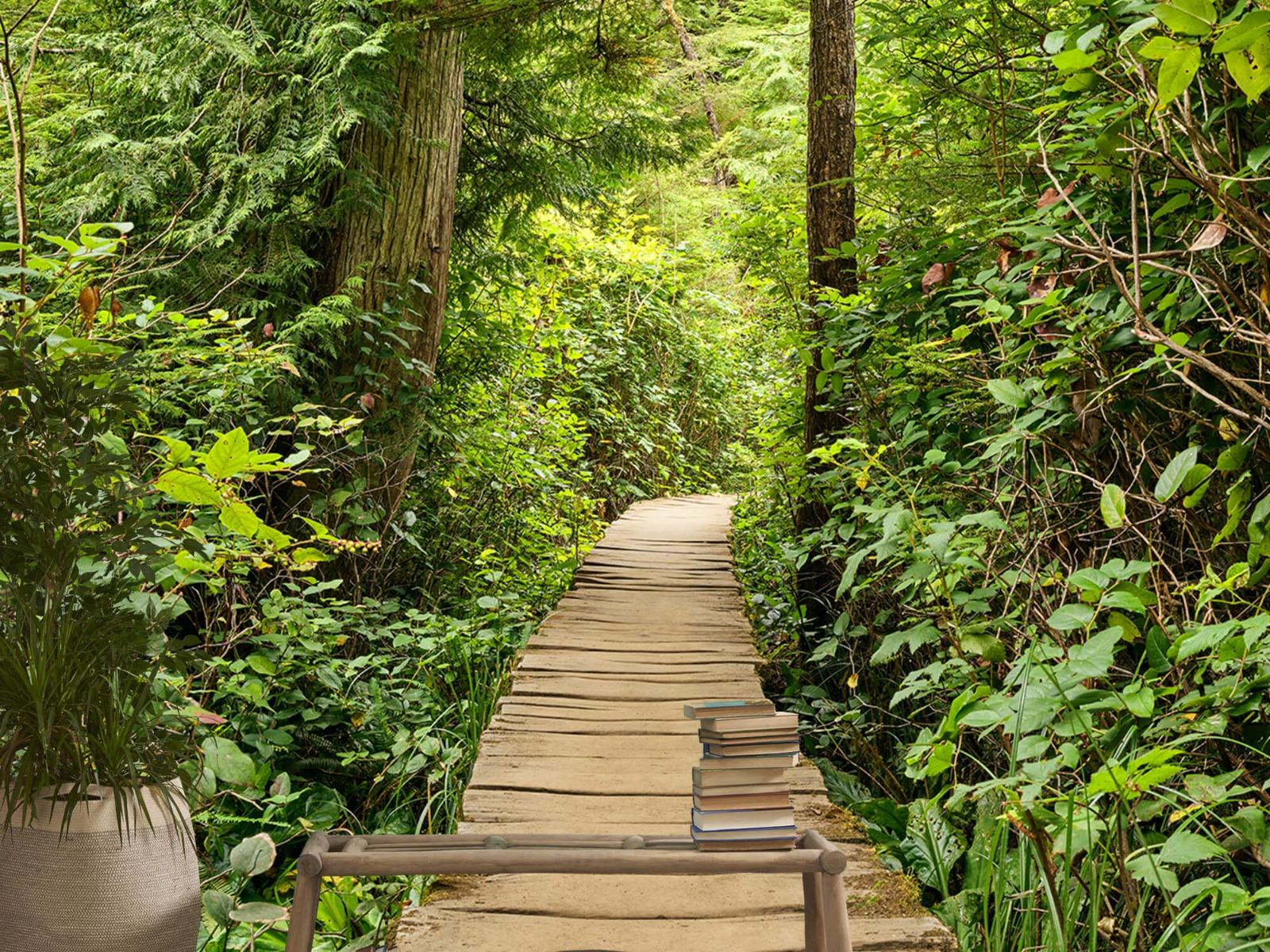 Bos behang - Houten pad door het groen - Slaapkamer 5