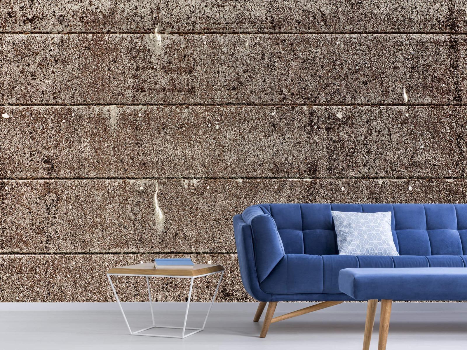 Steen behang - Oude betonnen damwand - Tienerkamer 6