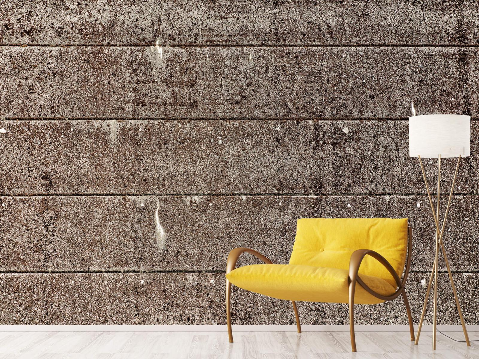 Steen behang - Oude betonnen damwand - Tienerkamer 12