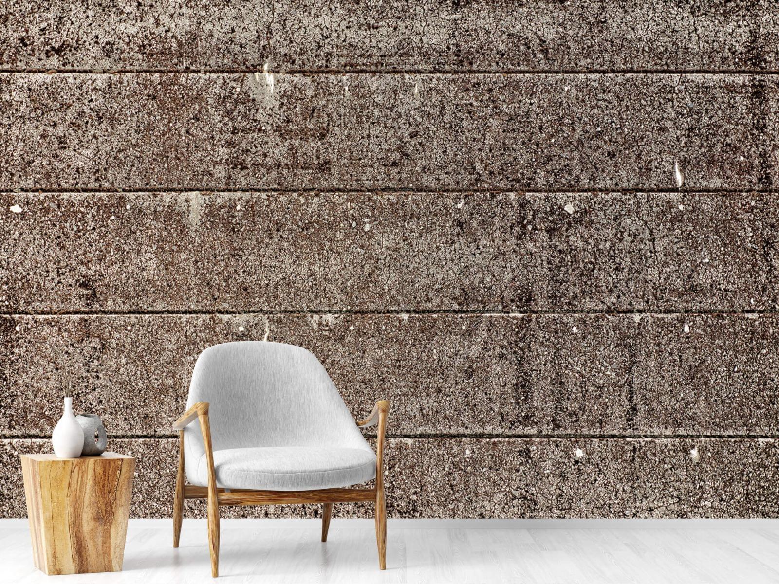 Steen behang - Oude betonnen damwand - Tienerkamer 18
