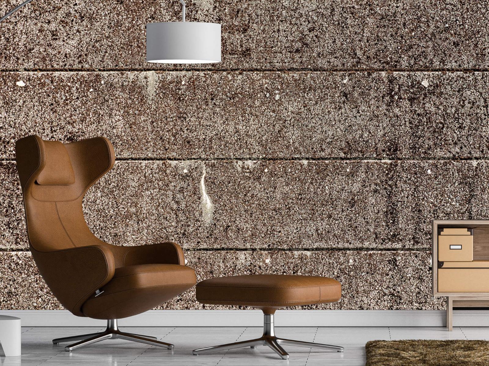 Steen behang - Oude betonnen damwand - Tienerkamer 19