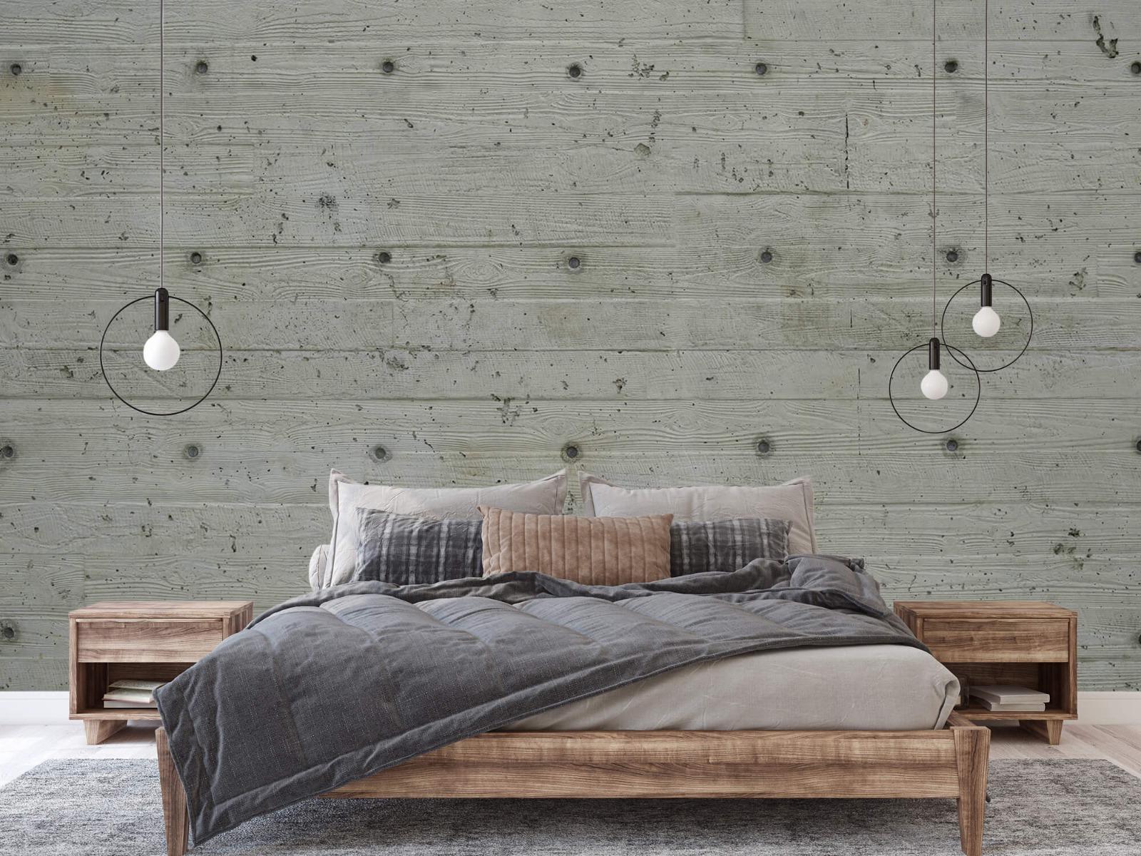 Betonlook behang - Beton met hout look - Slaapkamer 16