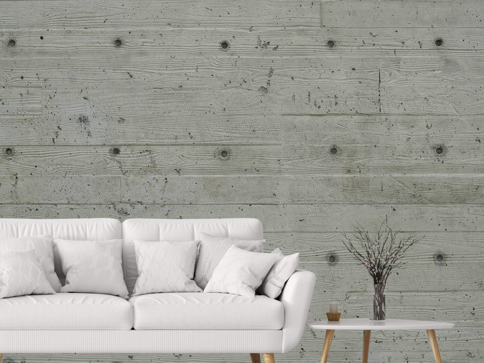 Betonlook behang - Beton met hout look - Slaapkamer 1