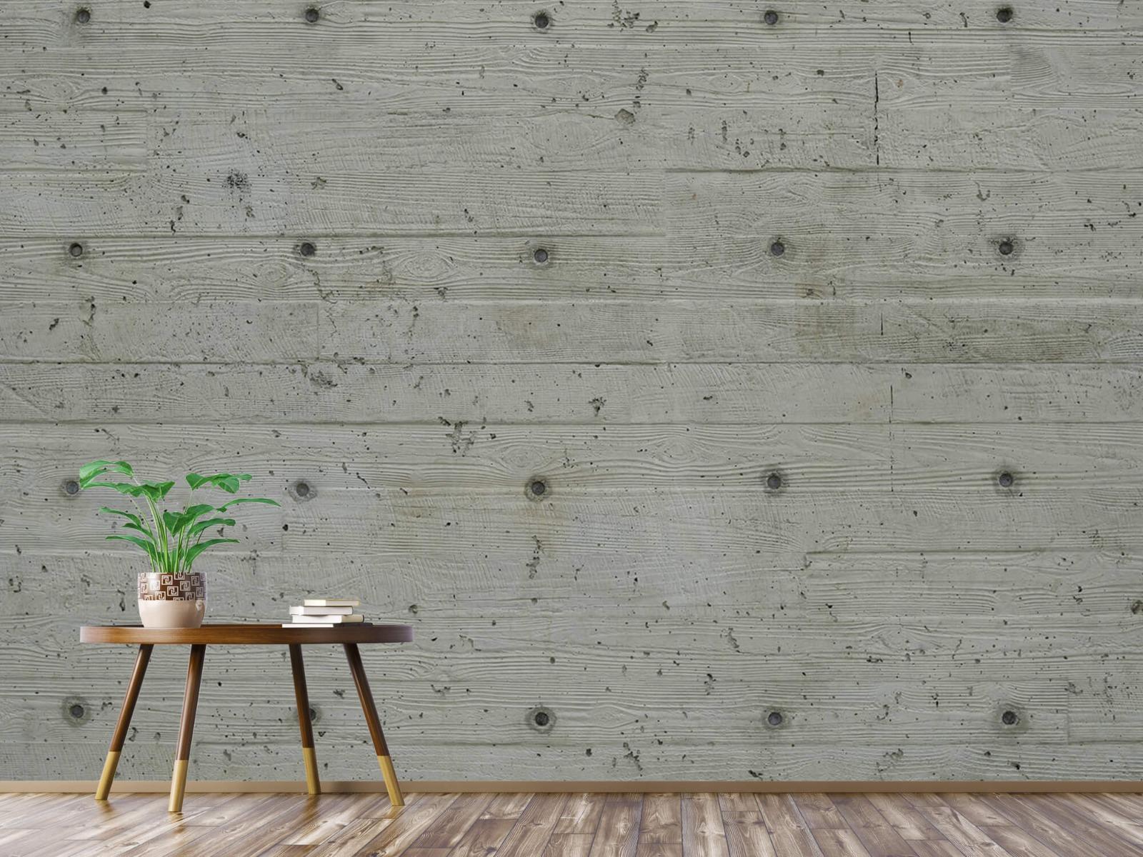 Betonlook behang - Beton met hout look - Slaapkamer 3