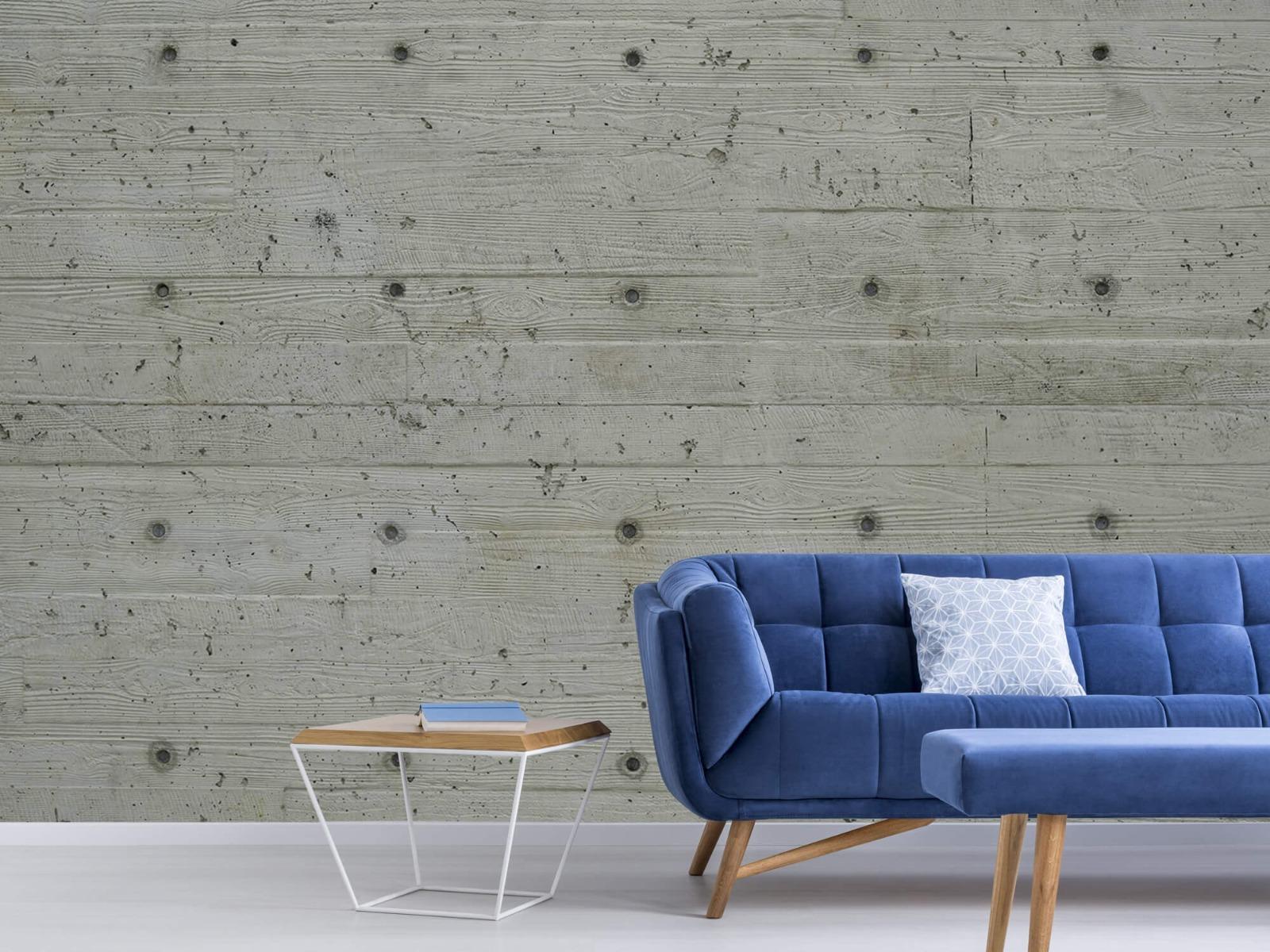 Betonlook behang - Beton met hout look - Slaapkamer 4