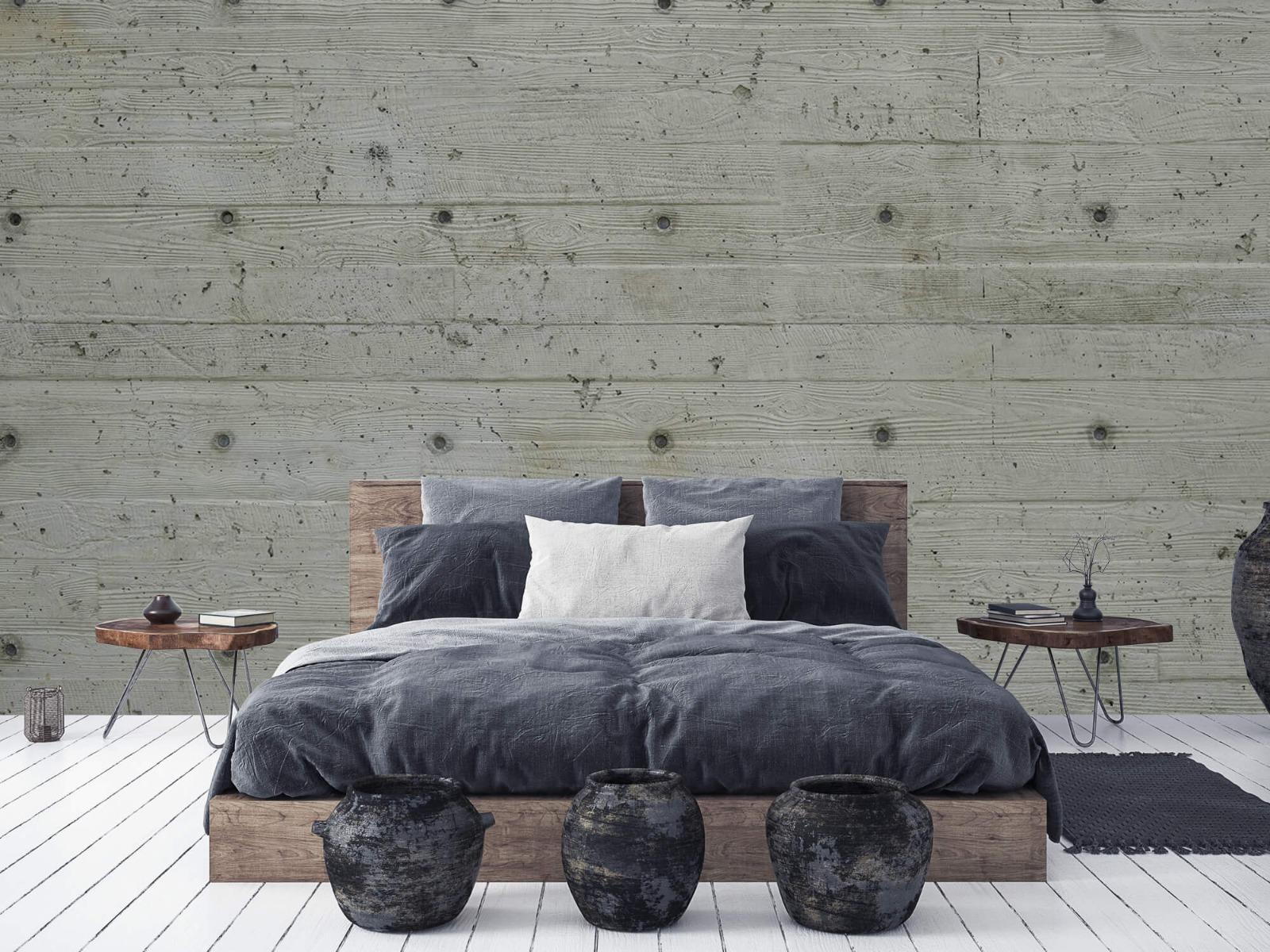 Betonlook behang - Beton met hout look - Slaapkamer 5