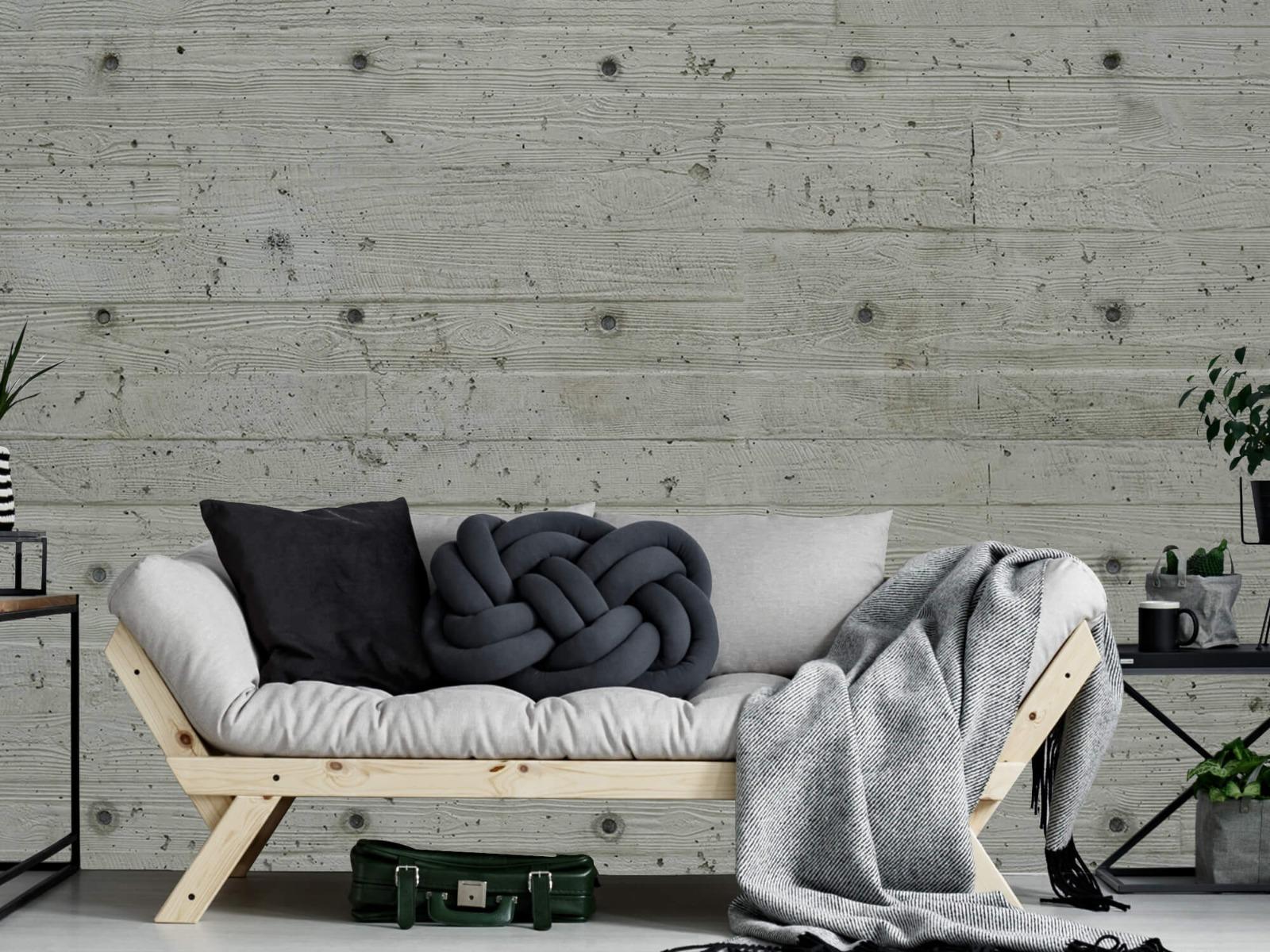 Betonlook behang - Beton met hout look - Slaapkamer 6