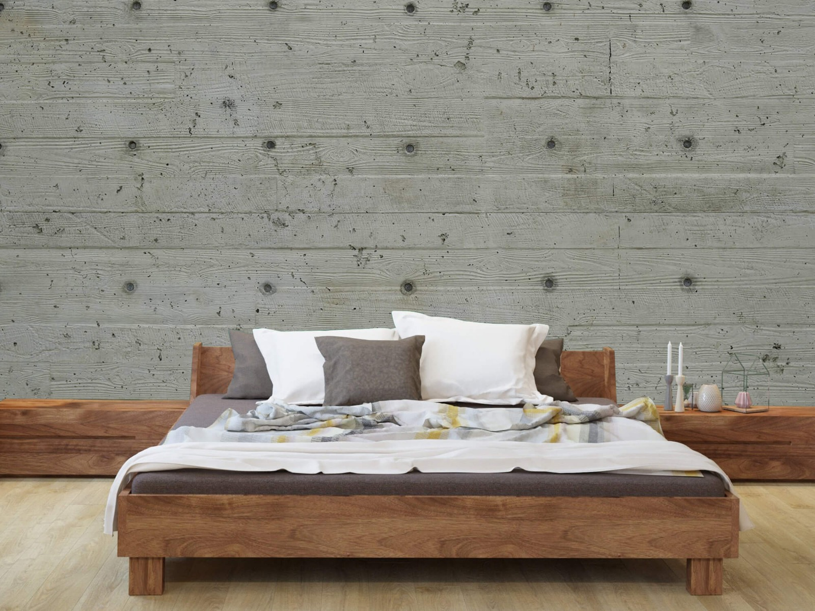 Betonlook behang - Beton met hout look - Slaapkamer 7