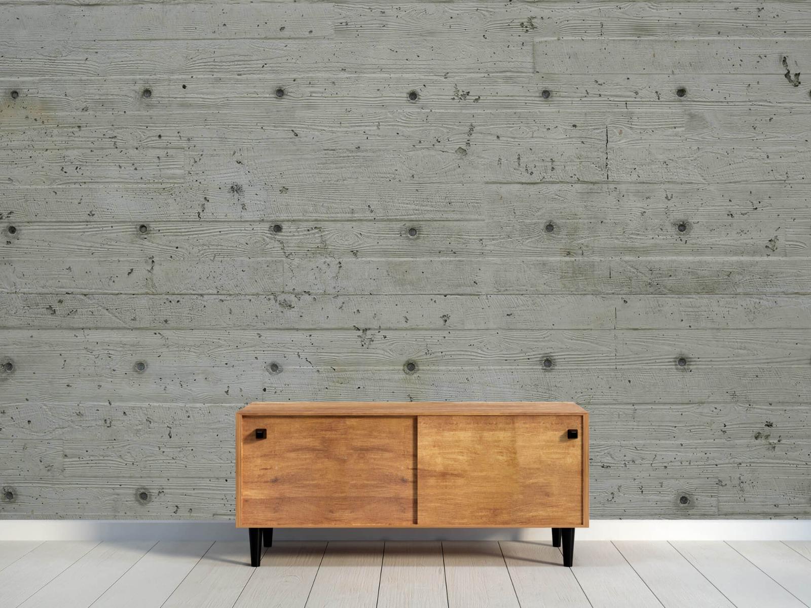 Betonlook behang - Beton met hout look - Slaapkamer 9