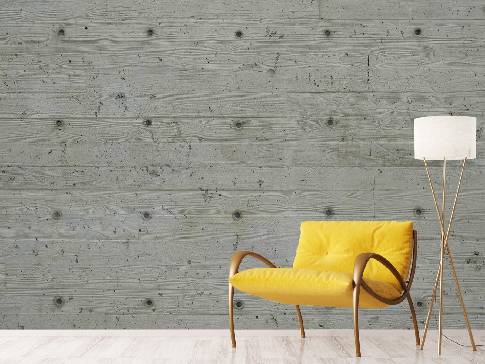 Betonlook behang - Beton met hout look - Slaapkamer 10
