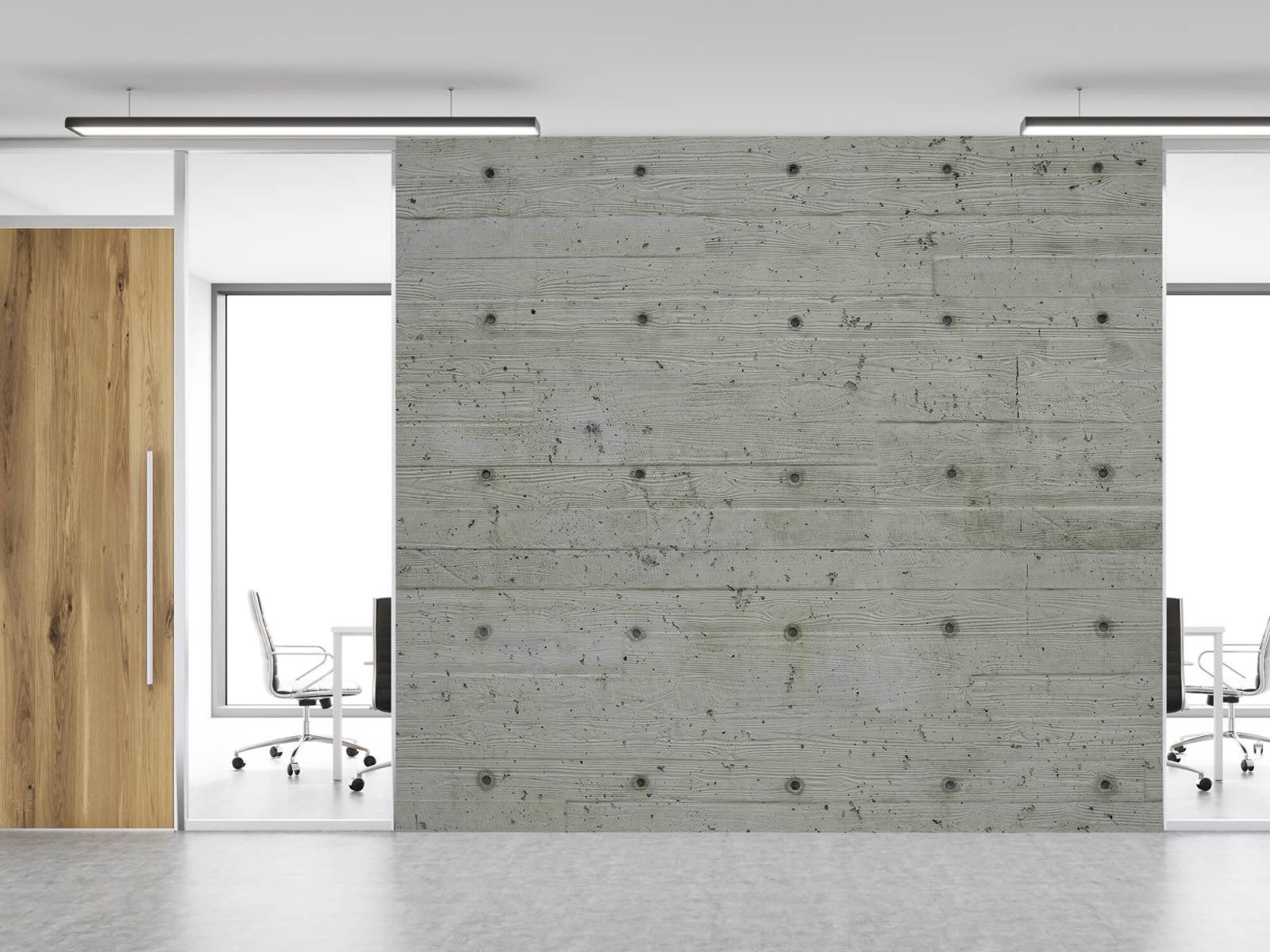 Betonlook behang - Beton met hout look - Slaapkamer 2