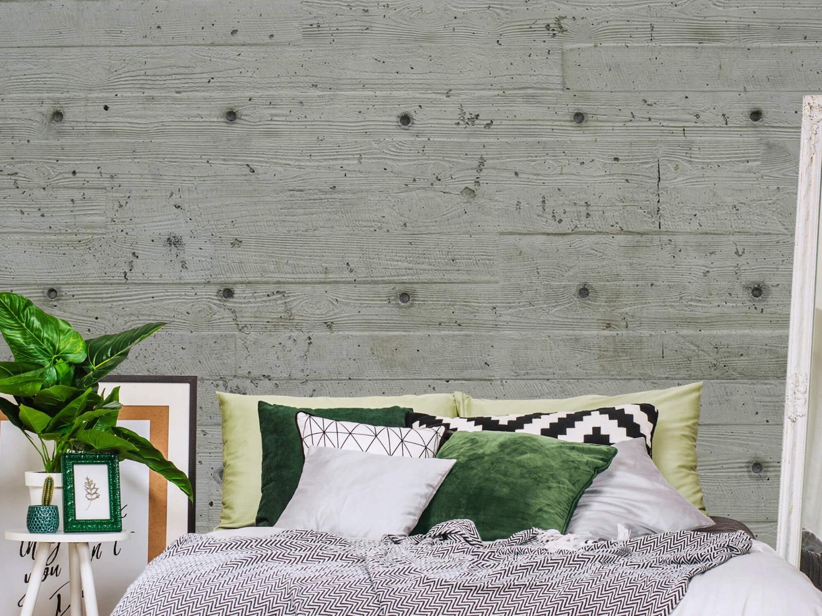 Betonlook behang - Beton met hout look - Slaapkamer 11