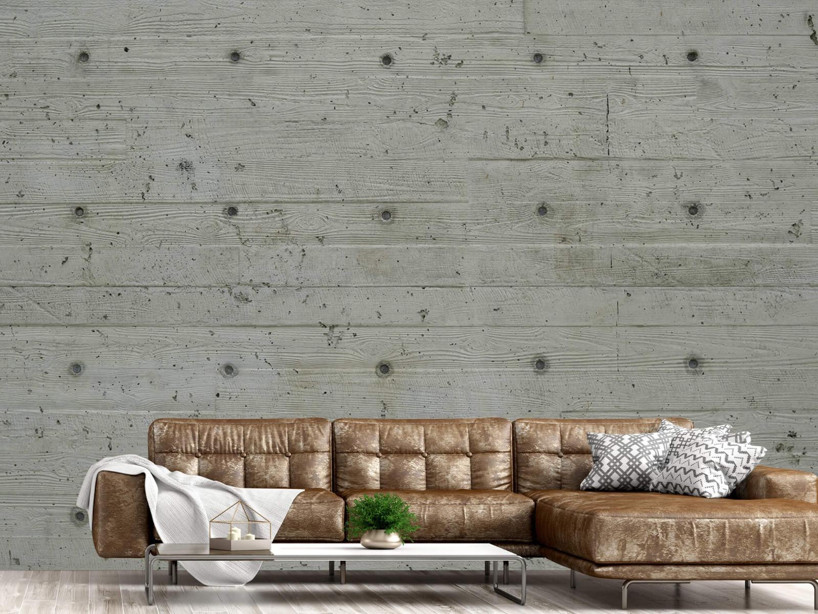 Betonlook behang - Beton met hout look - Slaapkamer 13