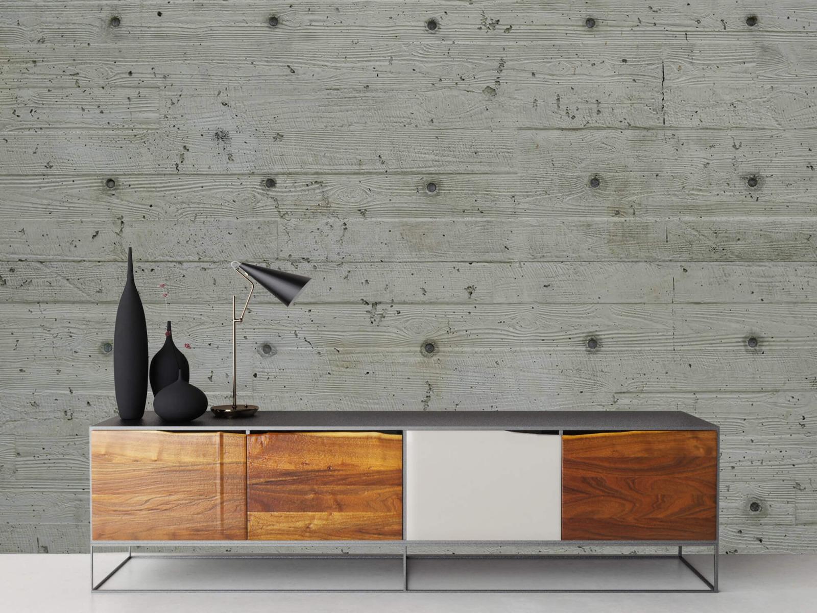 Betonlook behang - Beton met hout look - Slaapkamer 15