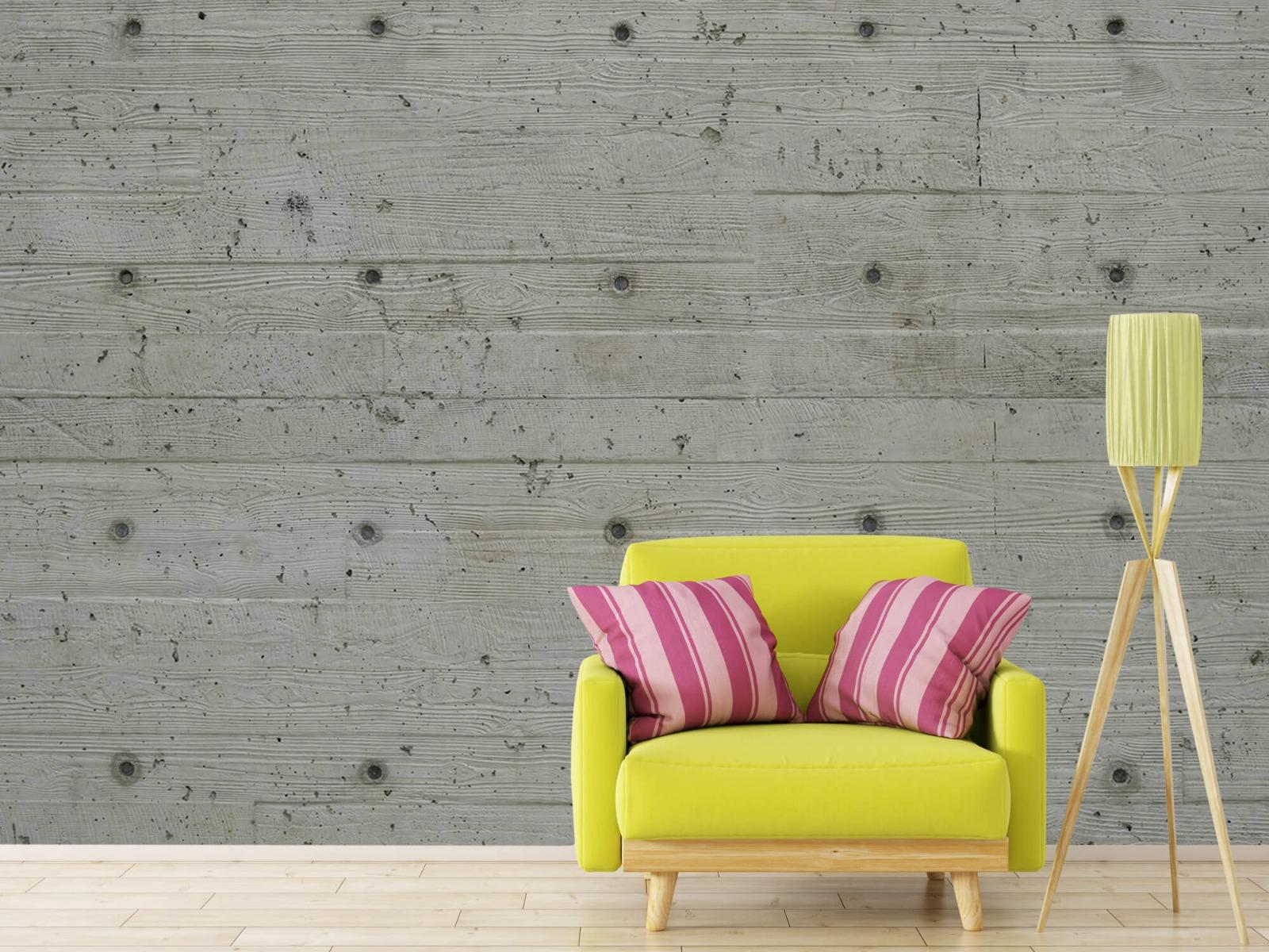Betonlook behang - Beton met hout look - Slaapkamer 17